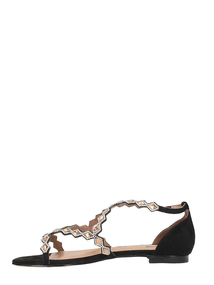 ... Bibi Lou Black Suede Flat Sandals ...