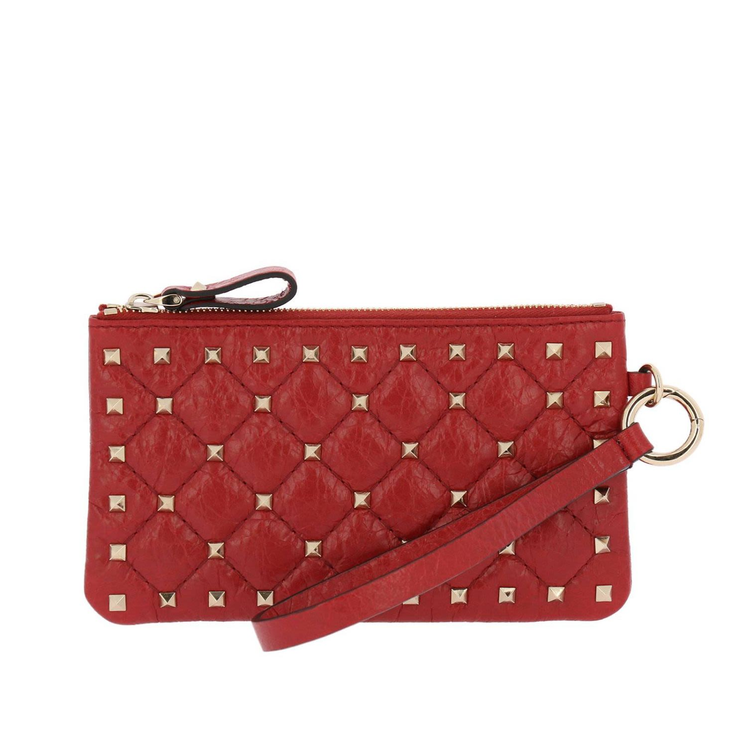 Mini Bag Valentino Rockstud Spike Mini Clutch Bag In Quilted Nappa Leather With Metal Studs