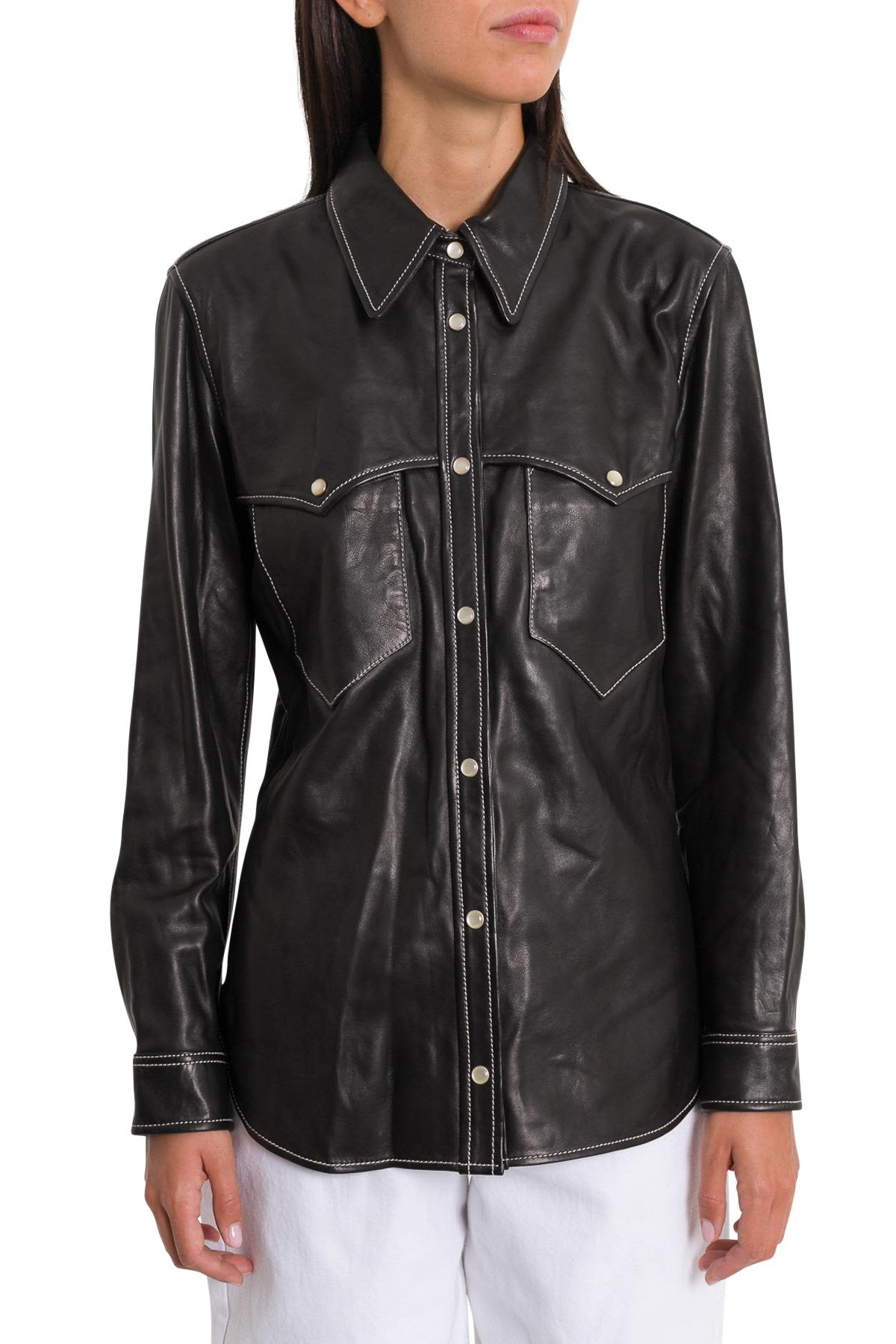 Nile Leather Shirt, Nero