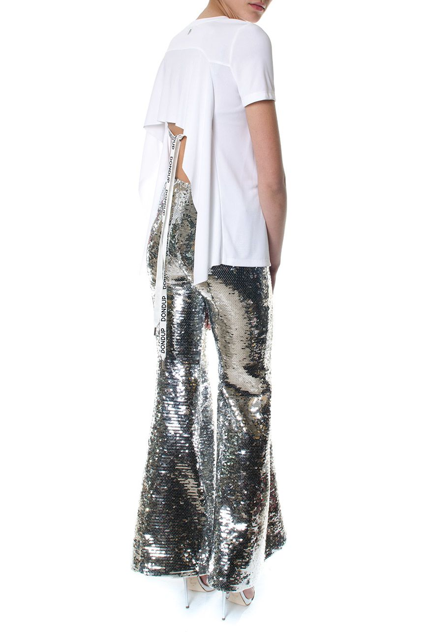Dondup Silver Sequined Flared Trousers Dondup Silver Sequined Flared  Trousers ...