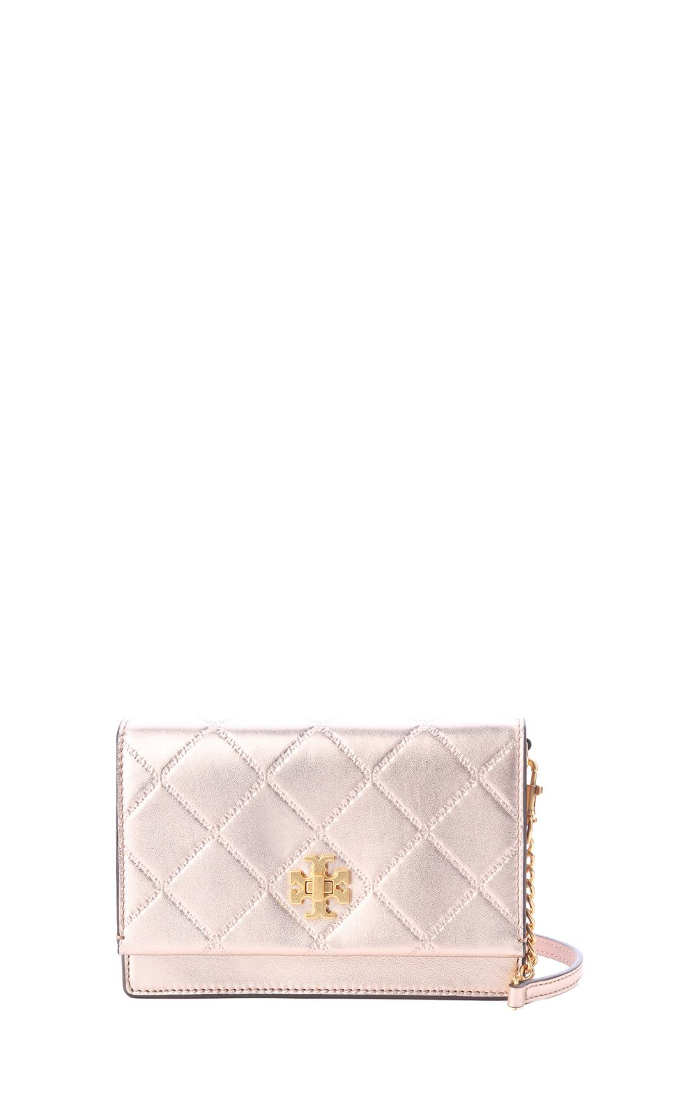 Mini Georgia Metallic Quilted-Leather Crossbody Bag in Rosa