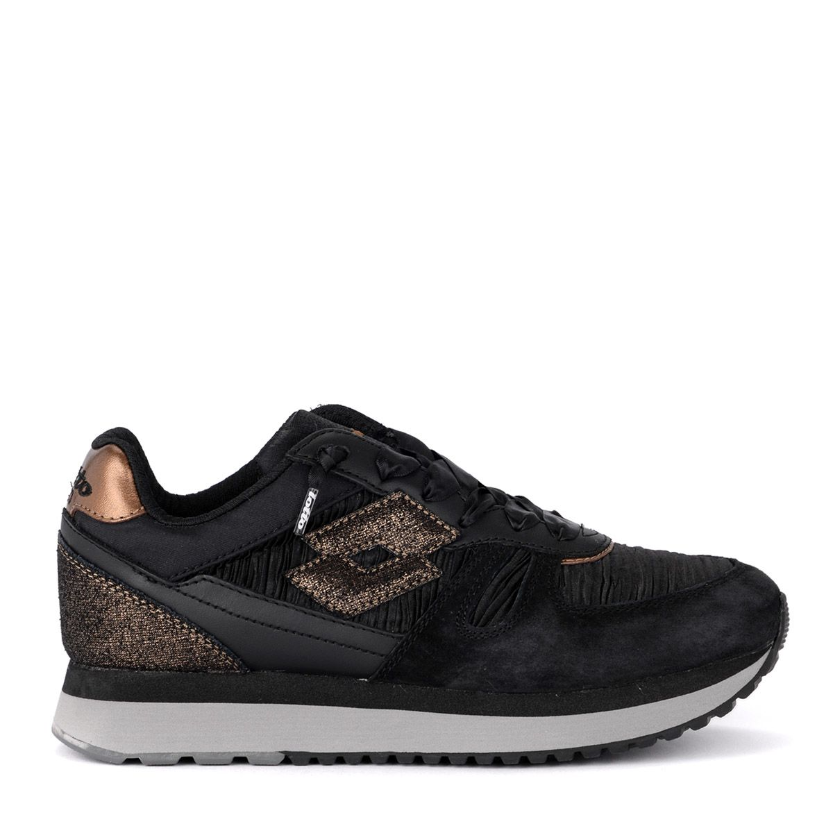 LOTTO LEGGENDA Lotto Tokyo Black And Bronze Fabric And Suede Sneaker in Nero