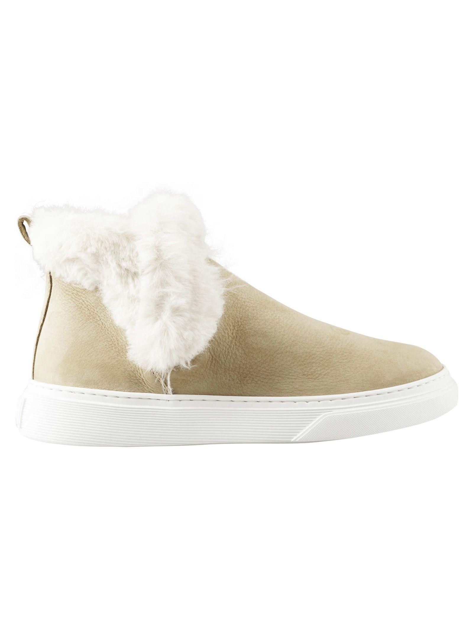 Hogan Fur Detail Ankle Boots
