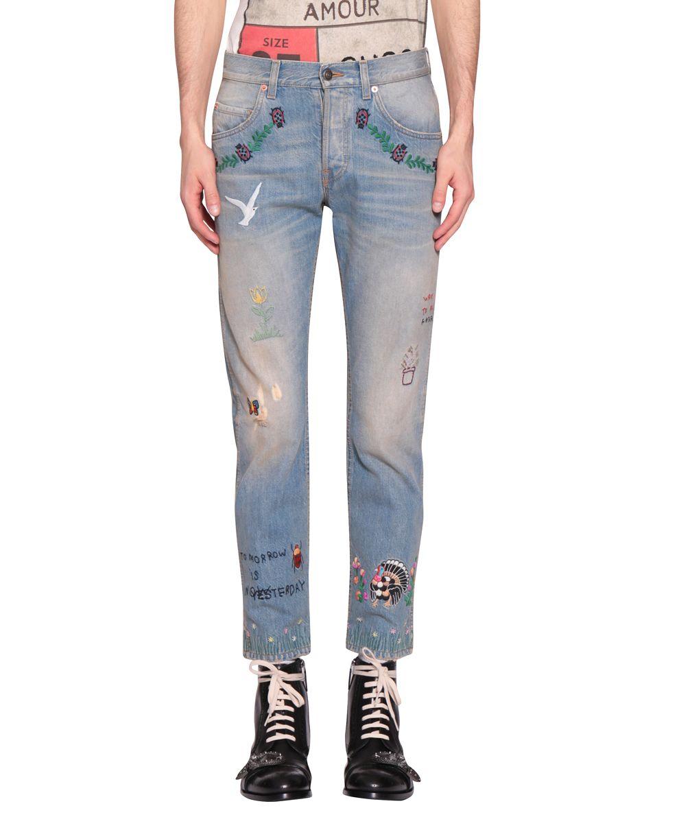 Gucci Cotton Denim Embroidered Jeans 10526953