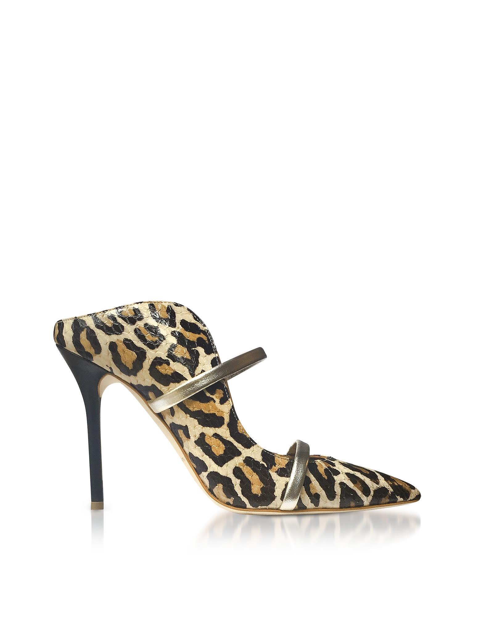 MALONE SOULIERS Designer Shoes, Leopard Printed Elaphe and Platinum Nappa Leather Maureen High Heel Mules