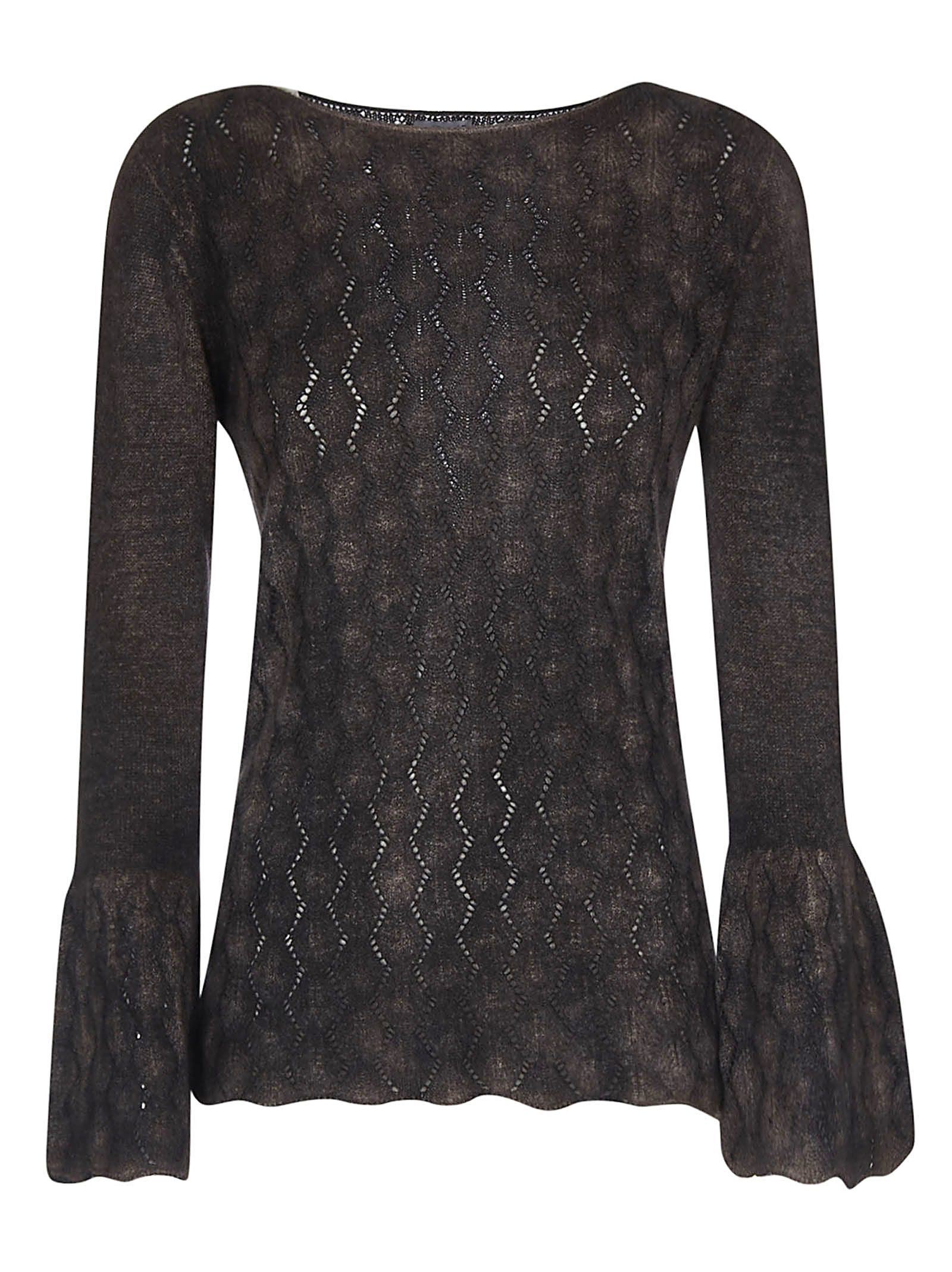 F CASHMERE F Cashmere Sequin Flared Top in Nut