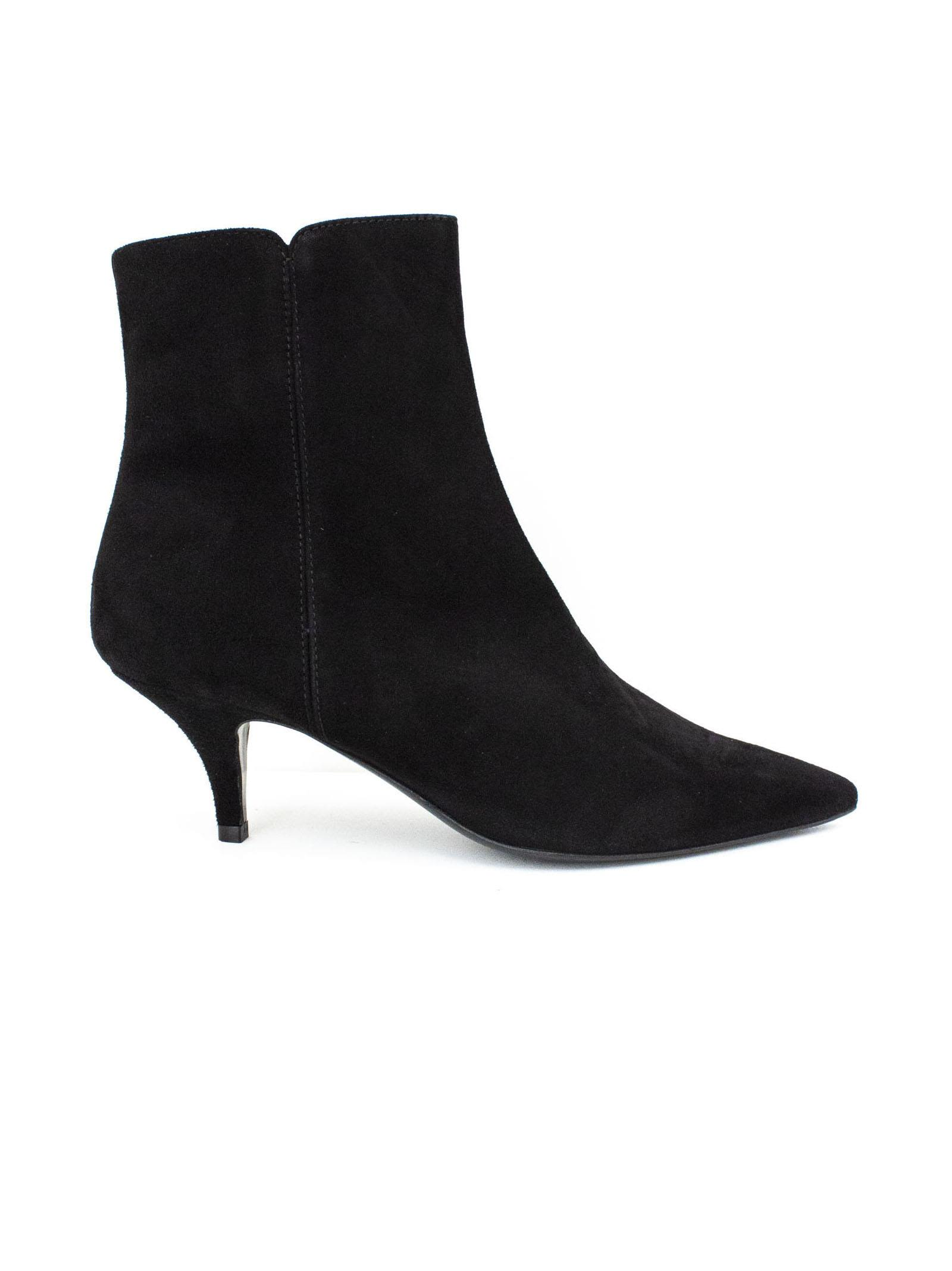 ROBERTO FESTA Black Suede Leather Oxford Ankle Boots. in Nero