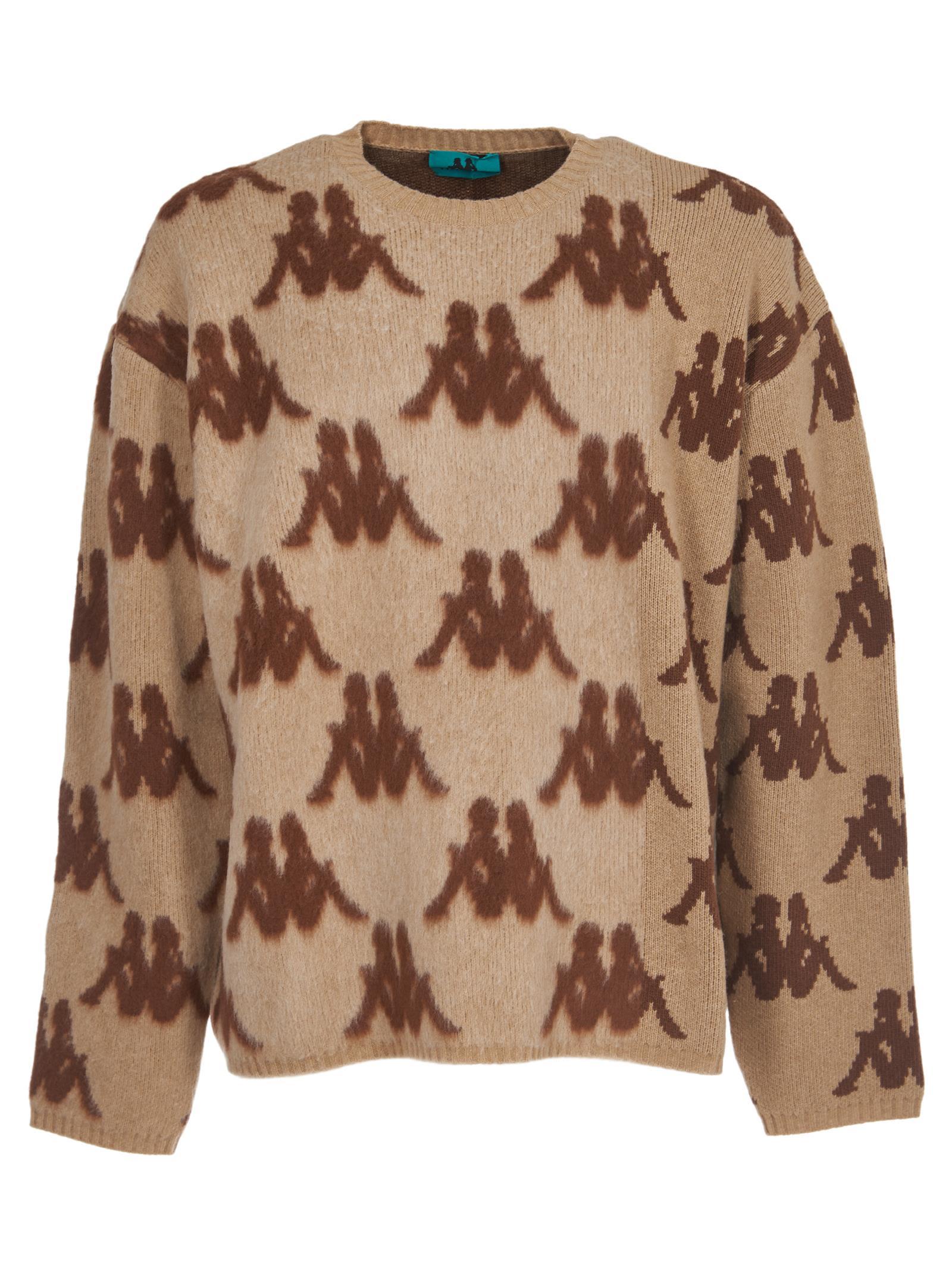 DANILO PAURA All Over Logo Sweater in Beige