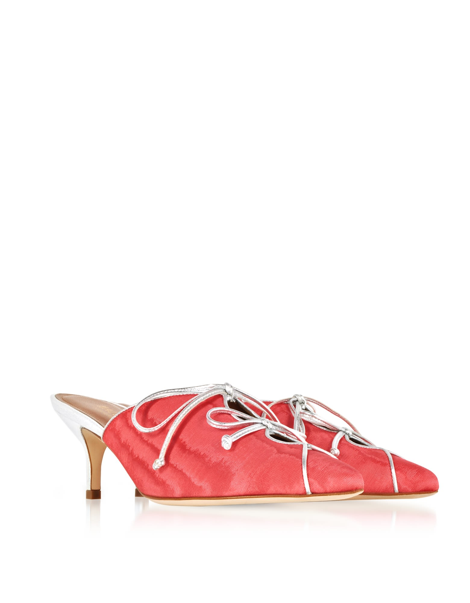 MALONE SOULIERS Designer Shoes, Victoria Hibiscus Moire Fabric and Metallic Nappa Leather Mid Heel Mules