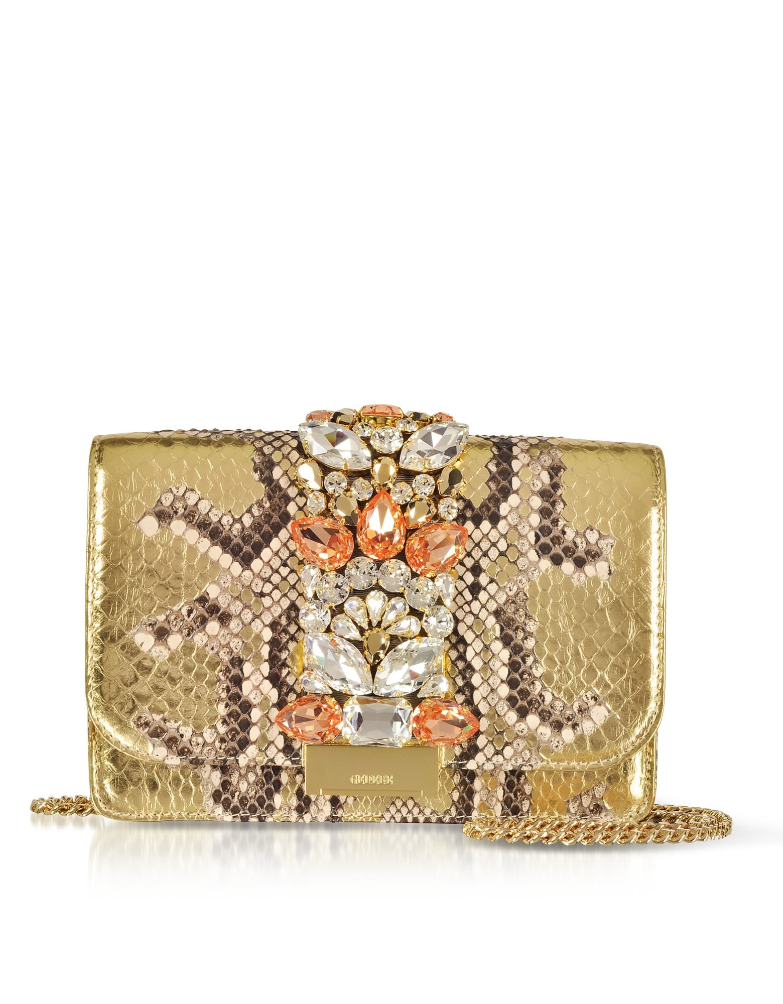 GEDEBE CLIKY ROCCIA GOLD PYTHON CLUTCH W-CRYSTALS AND CHAIN STRAP