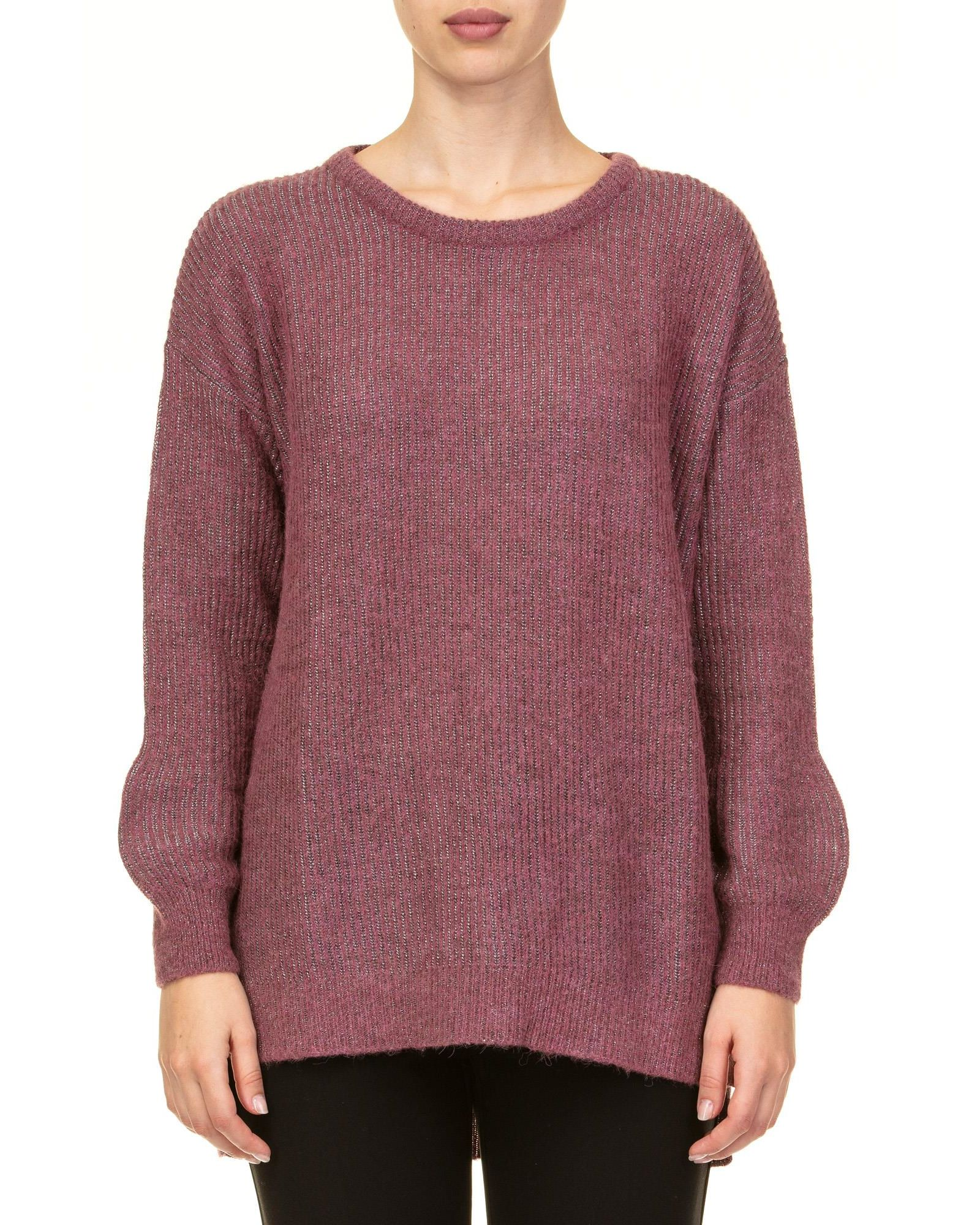 KANGRA Lurex Sweater in Raspberry