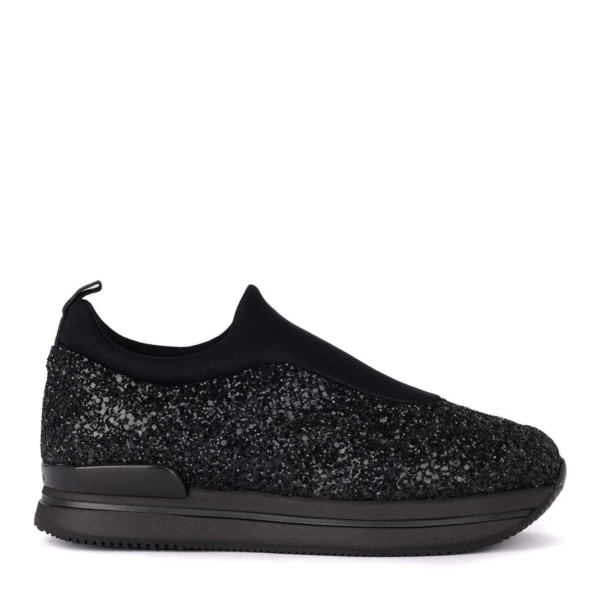 H222 Black Slip On With Glitter And Scuba Effect Fabric. in Nero