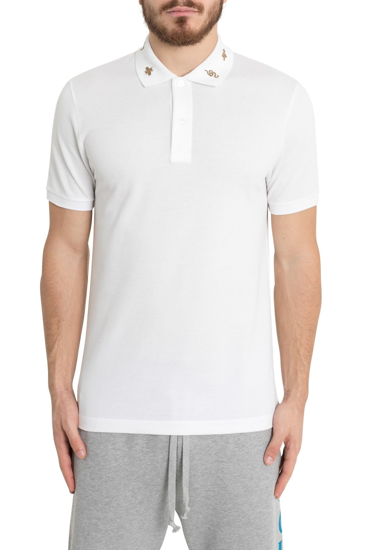 Gucci Embroidered Collar Polo Shirt In Bianco Modesens