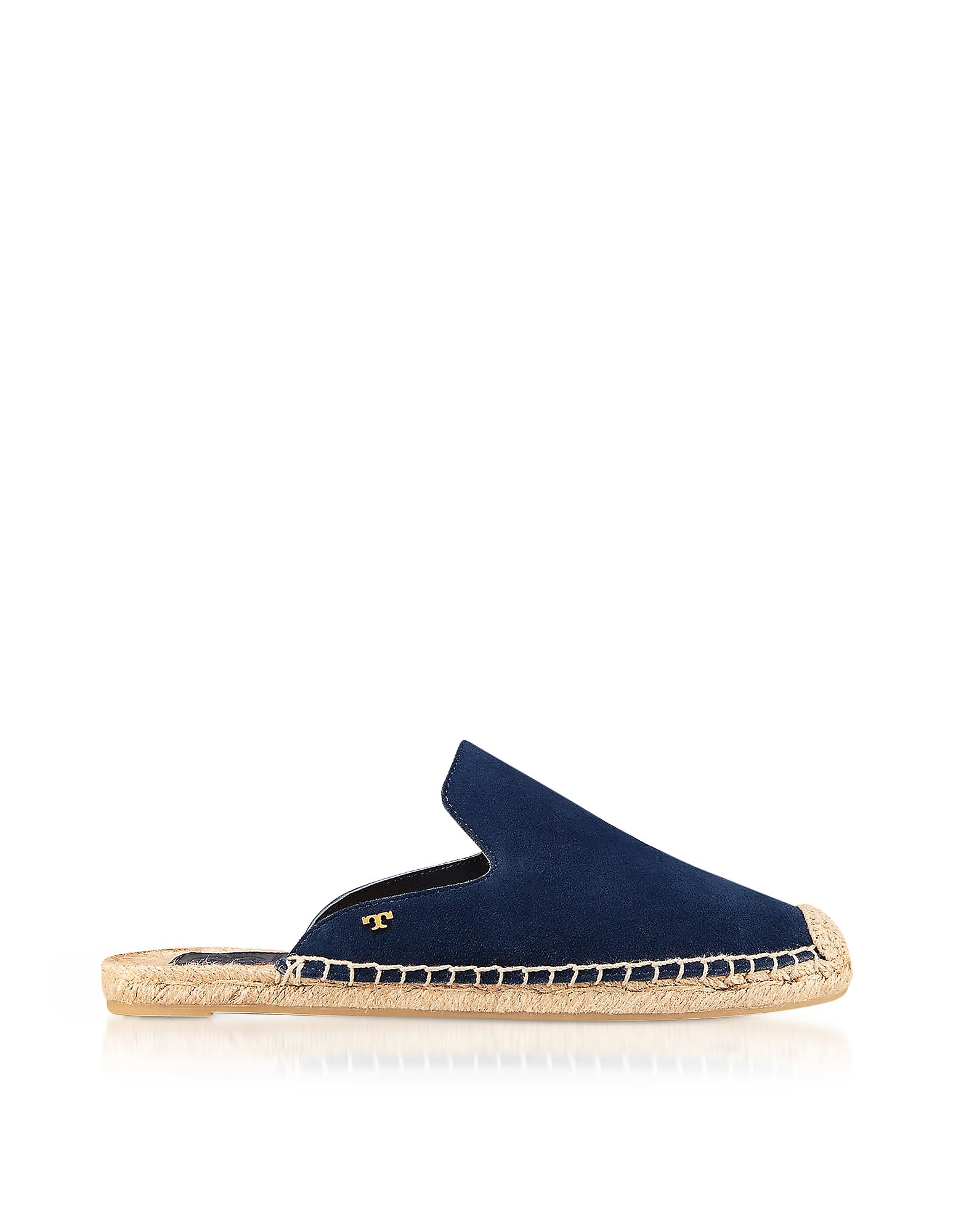 Tory Burch Designer Shoes, Max Royal Navy Suede Flat Slide Espadrilles