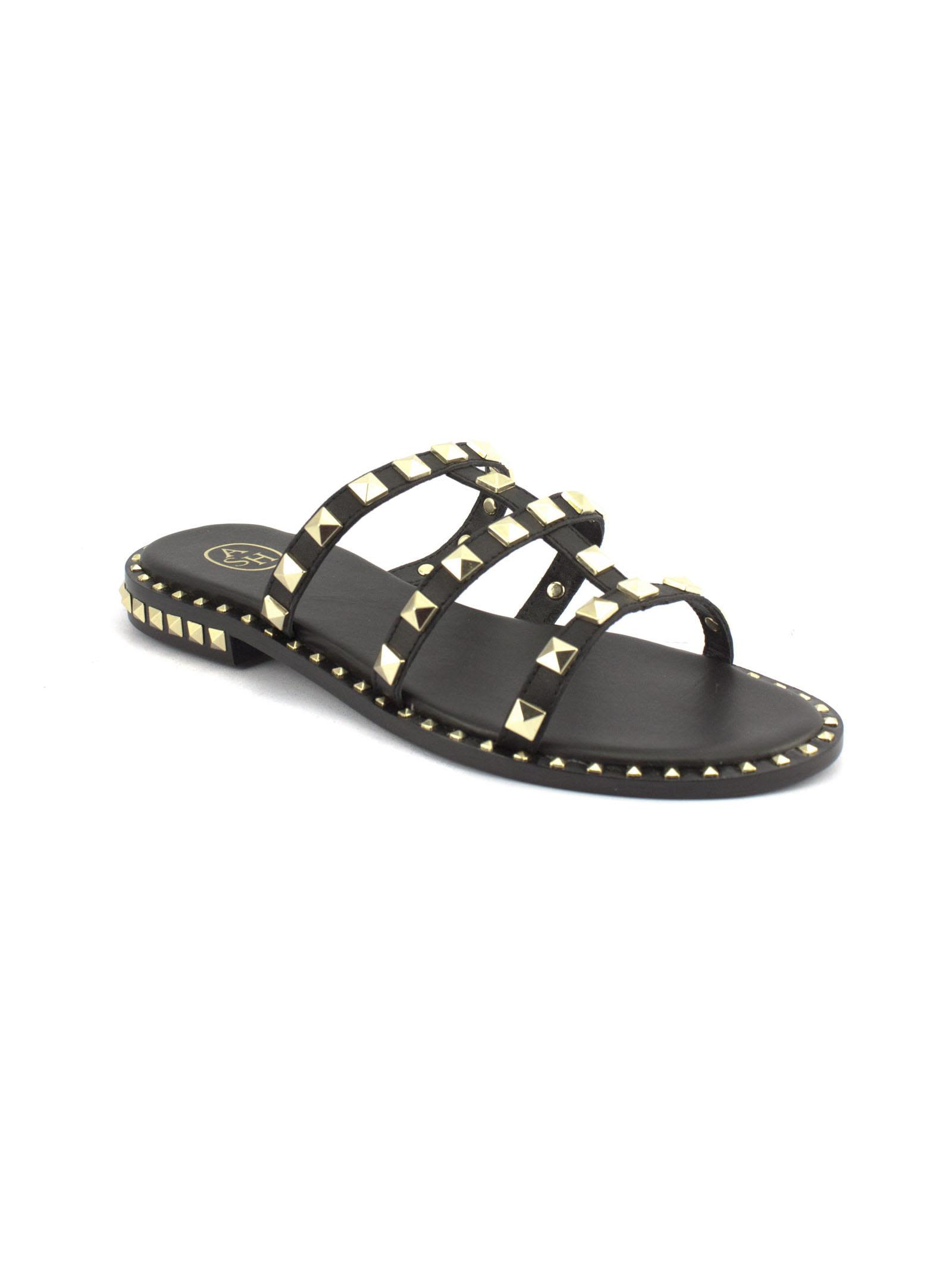Clearance 100% Guaranteed Ash Pop Sandals In Black Leather With Studs Cheap Sale Visit New Cheap Footlocker Finishline xoWO0