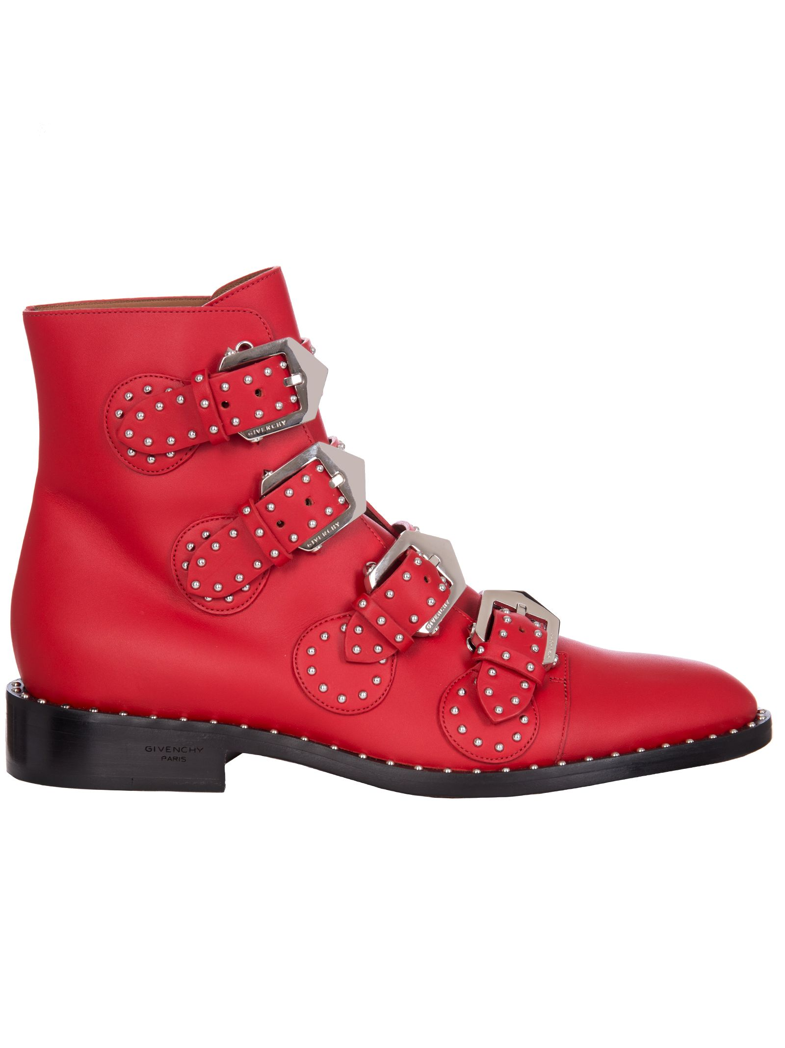 Elegant Line Studded Ankle Boots In Red, Rosso