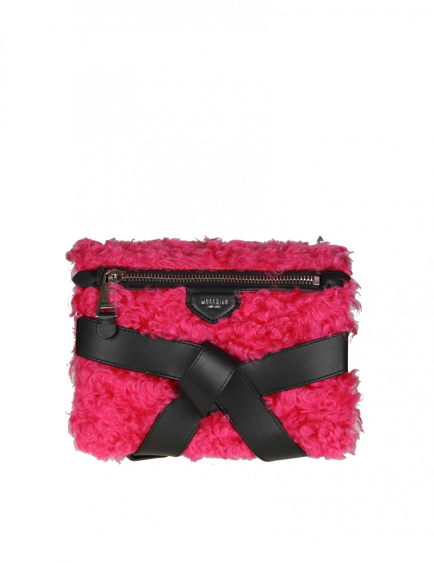 Moschino Leathers SHOULDER BAG IN LEATHER AND MOHAIR COLOR BLACK AND FUCHSIA