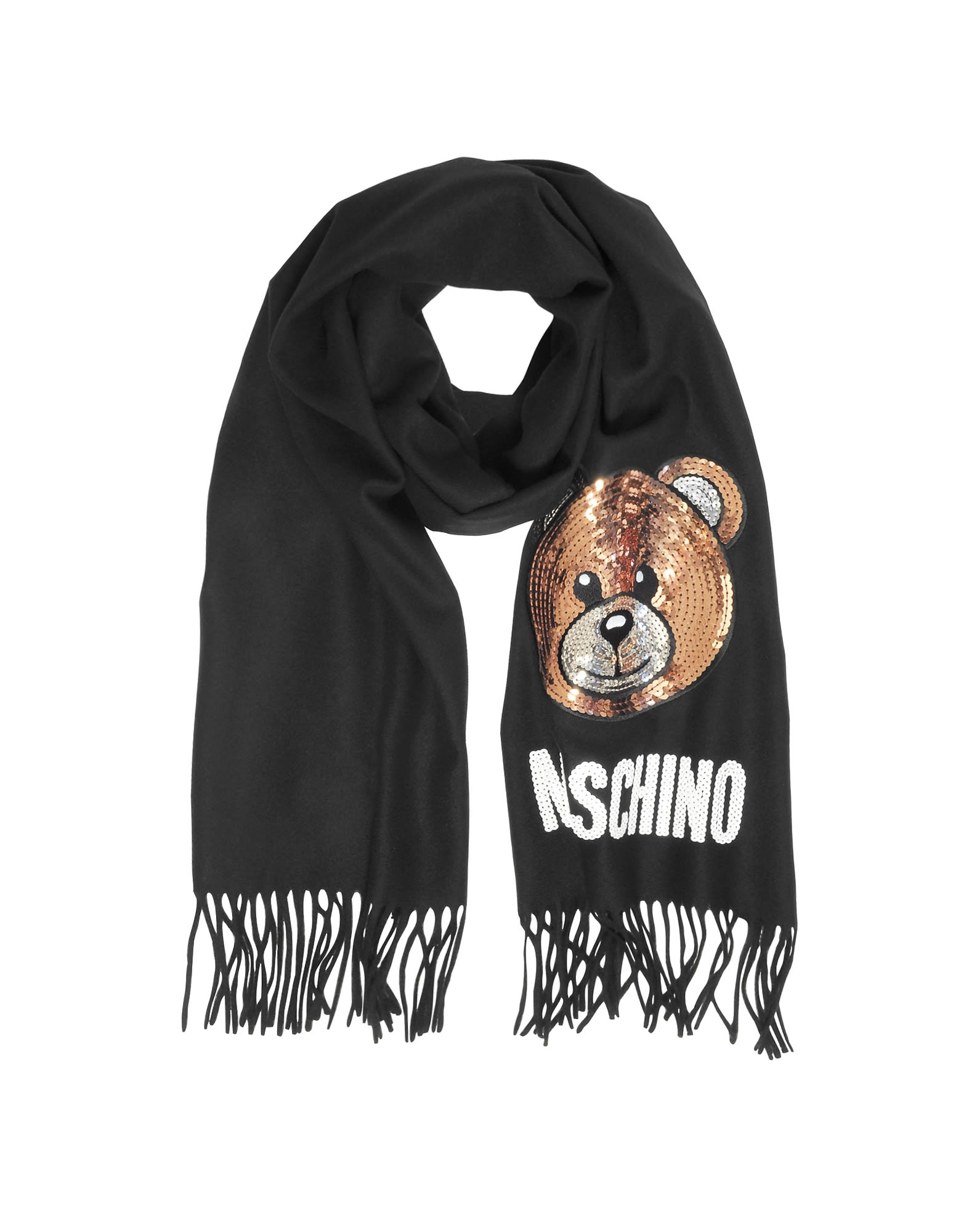 MOSCHINO SEQUIN TEDDY BEAR FRINGED WOOL SCARF