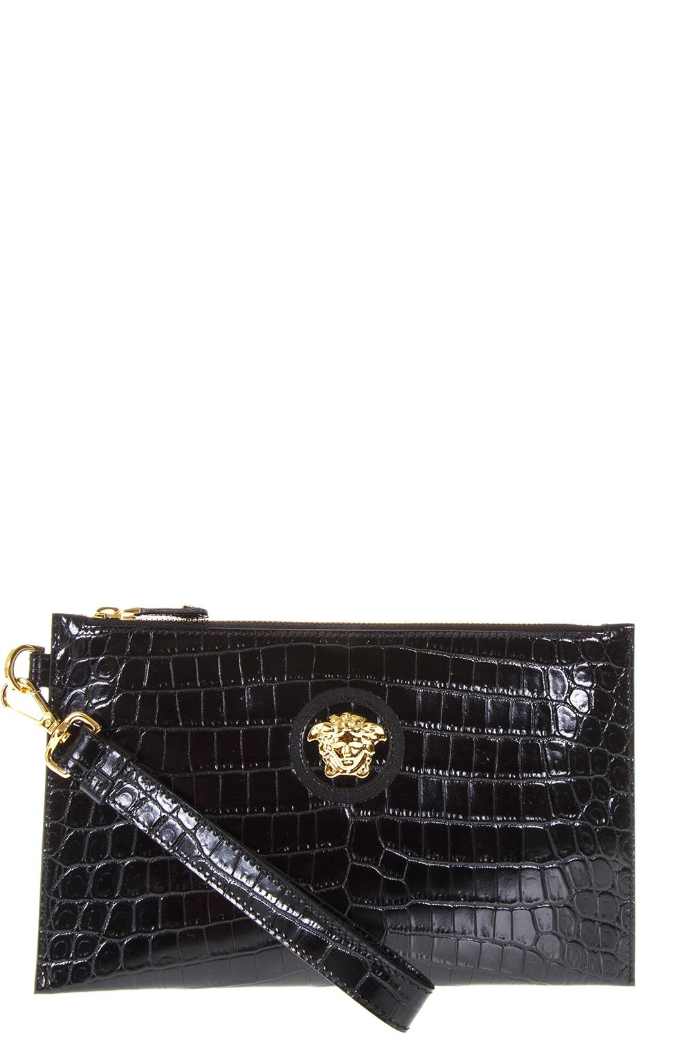 VERSACE BLACK LEATHER BAG PYTHONITE
