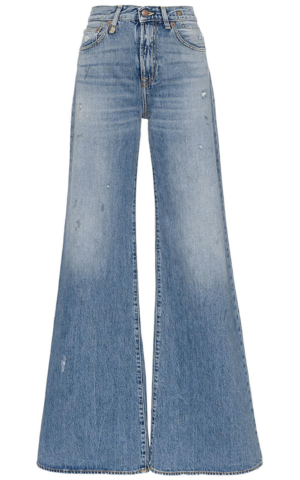 r13 -  Raegan Distressed High-rise Wide-leg Jeans