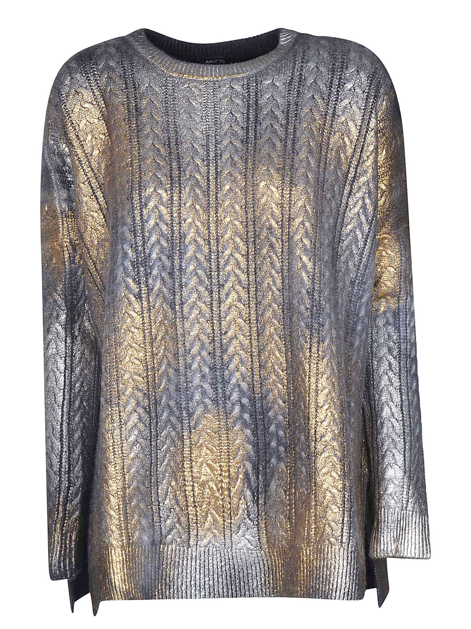 Avant Toi Metallic Cable Knit Sweater In Silver Gold  5d46ca3ec