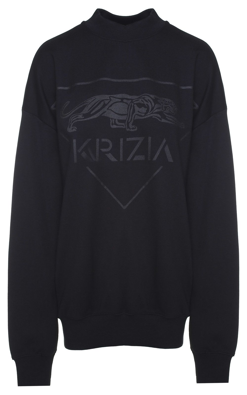 Krizia PANTHER-PRINT COTTON OVERSIZED SWEATSHIRT