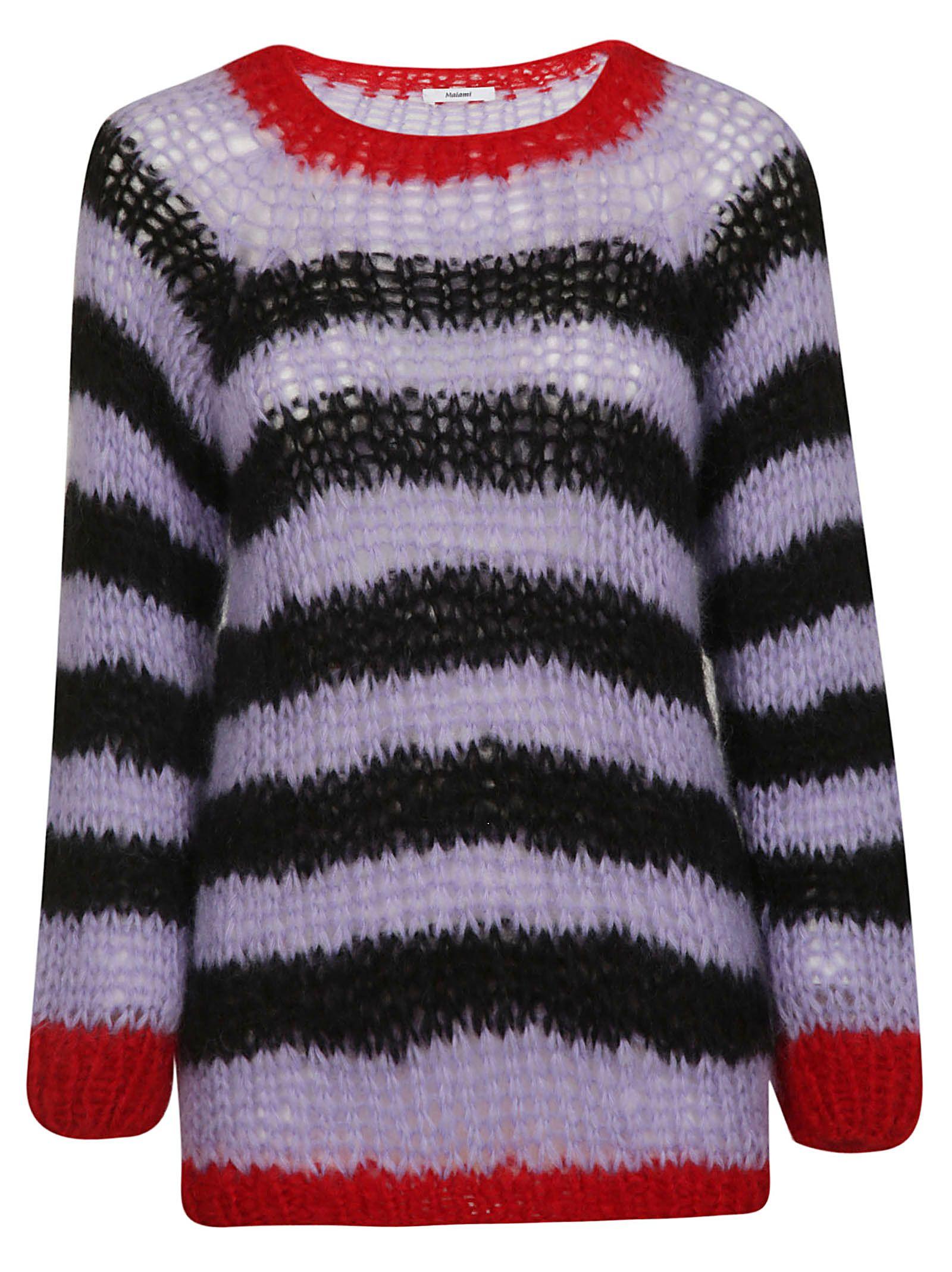MAIAMI Maiami Striped Sweater in Rosso/Nero/Lavanda