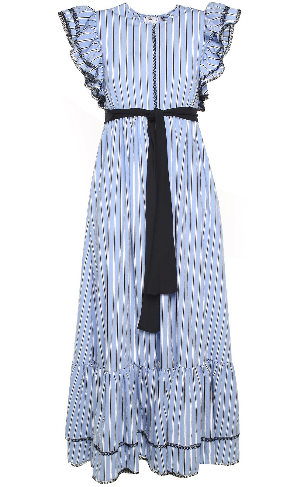 MSGM Ruffle-sleeved Striped Long Dress