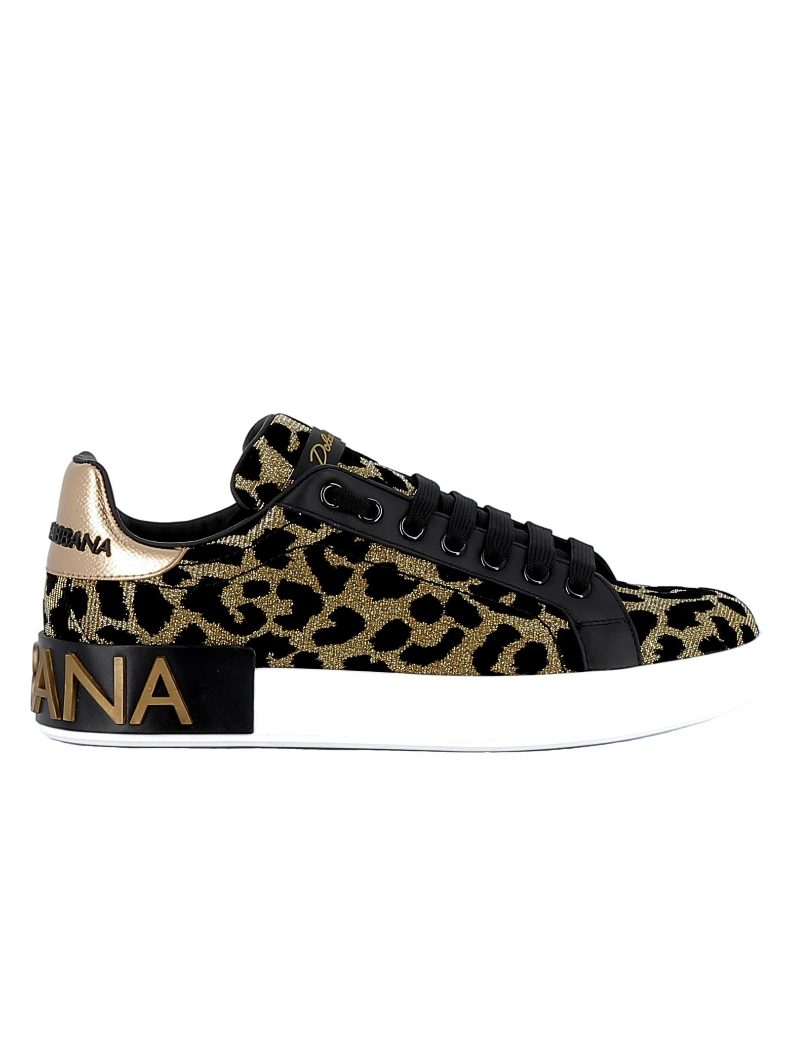 Dolce & Gabbana Gold/black Fabric Sneakers thumbnail