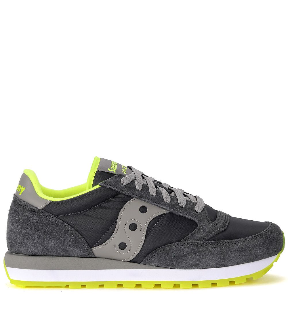 JAZZ GREY AND FLUO YELLOW SUEDE AND FABRIC SNEAKER