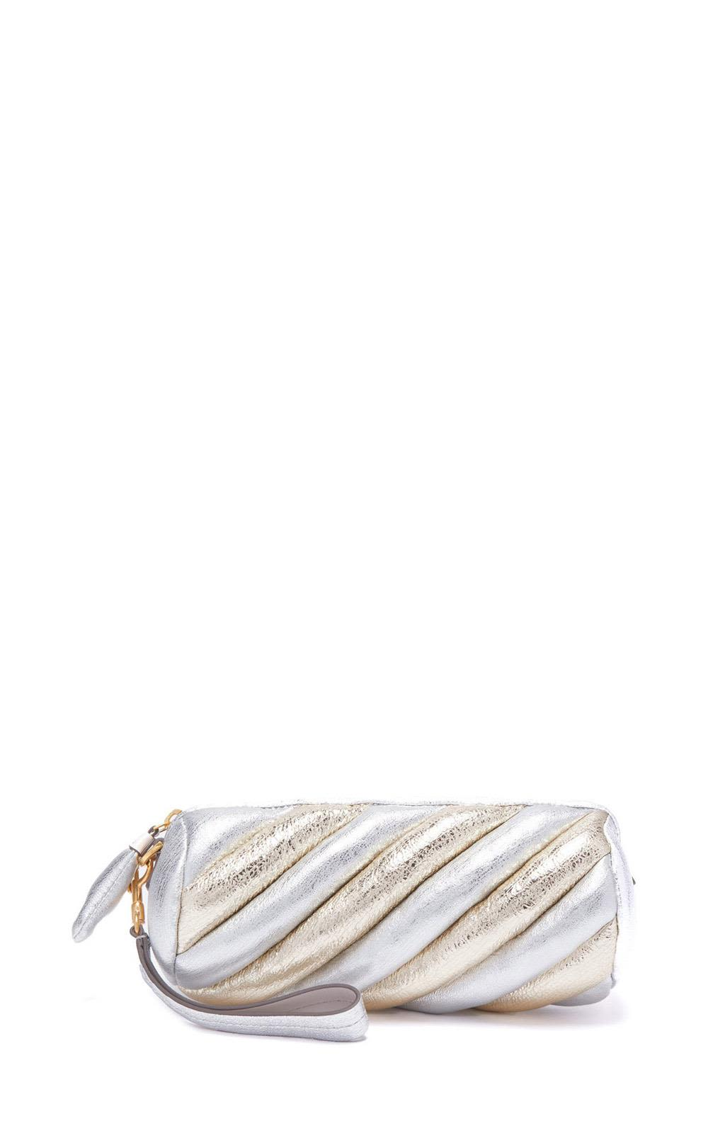 Anya Hindmarch Marshmellow Crackled Metallic-leather Clutch