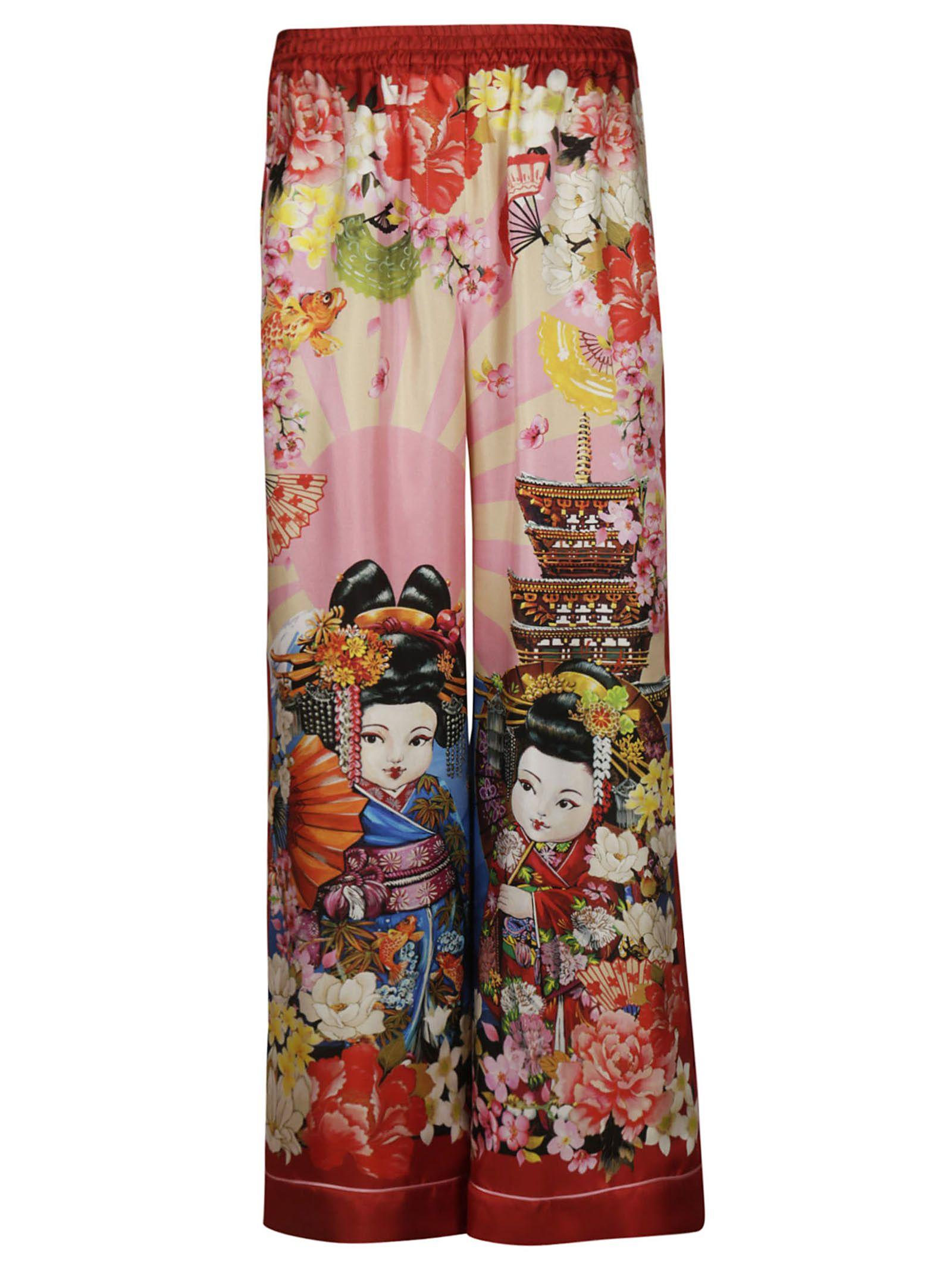 Dolce & Gabbana Silks GEISHA PALACE PRINT TROUSERS