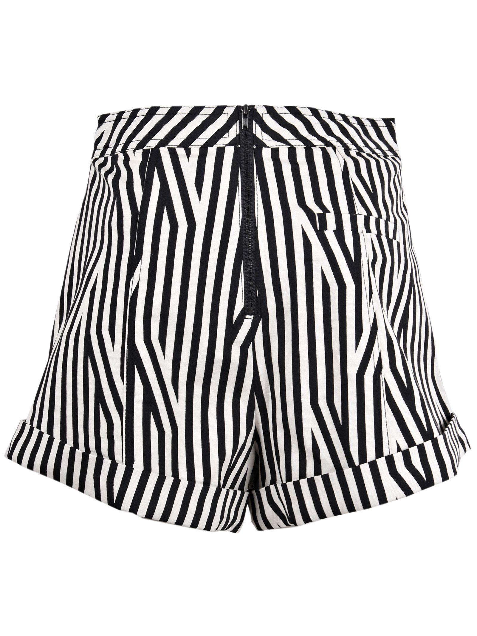 lace up front striped shorts - Black Self Portrait 9NVJpcniI5