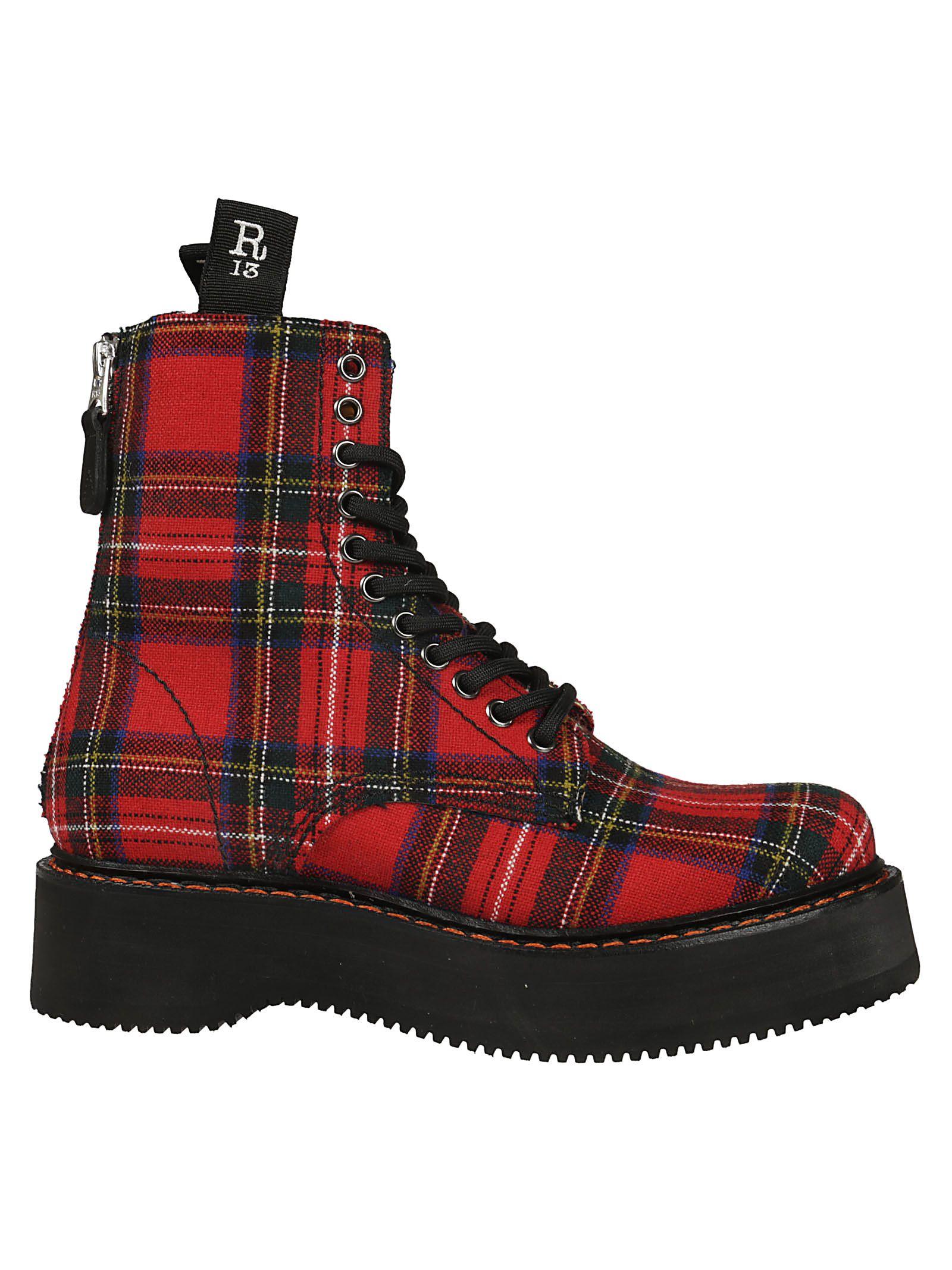 R13 Plaid Lace-up Boots