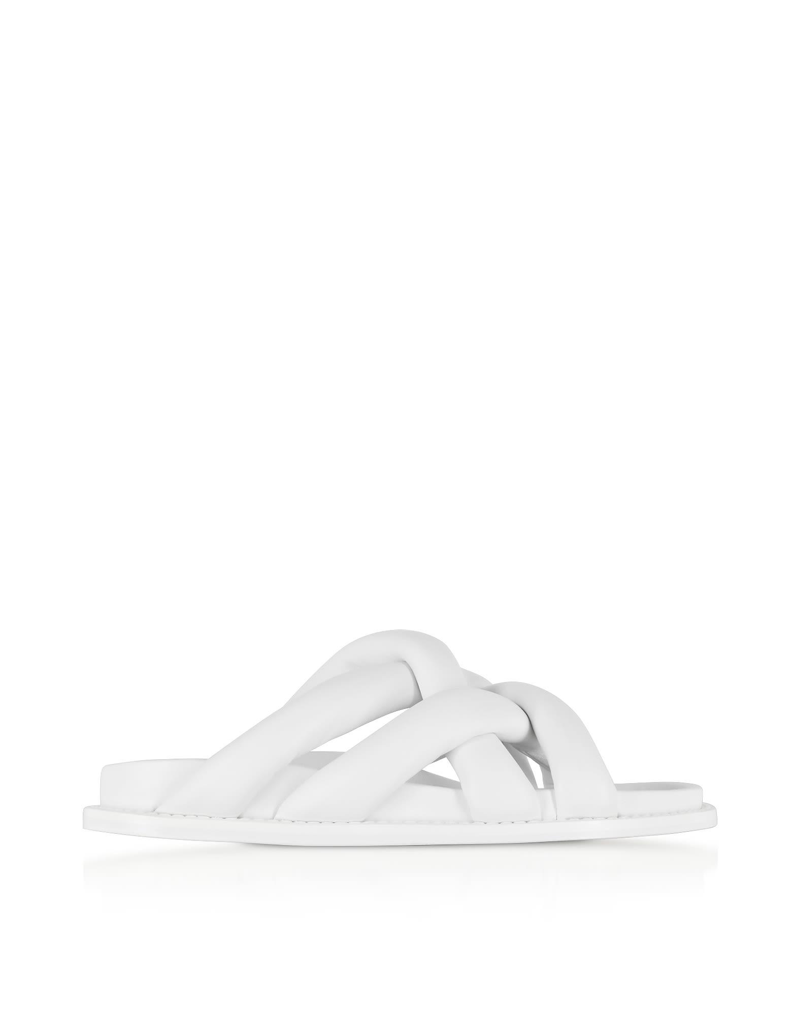 proenza schouler -  Optic White Suede Flat Sandals
