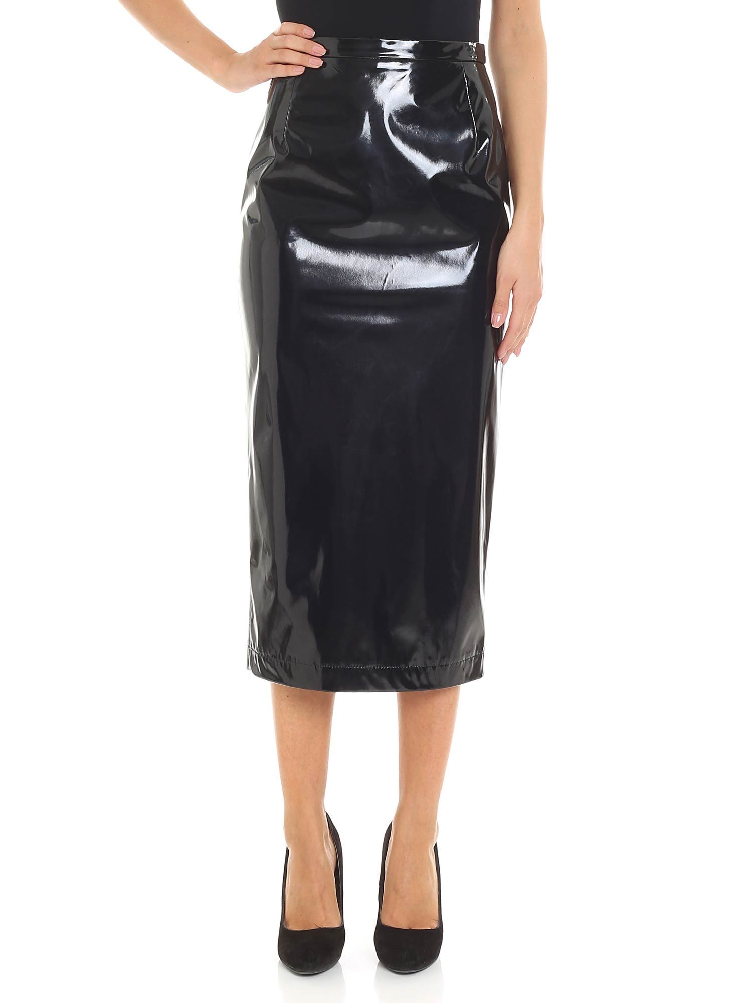 N°21 PATENT LEATHER EFFECT SKIRT