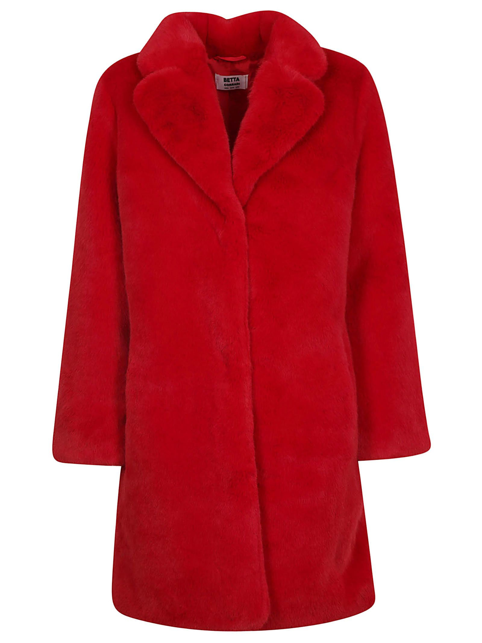 BETTA CORRADI Fur Coat in Red