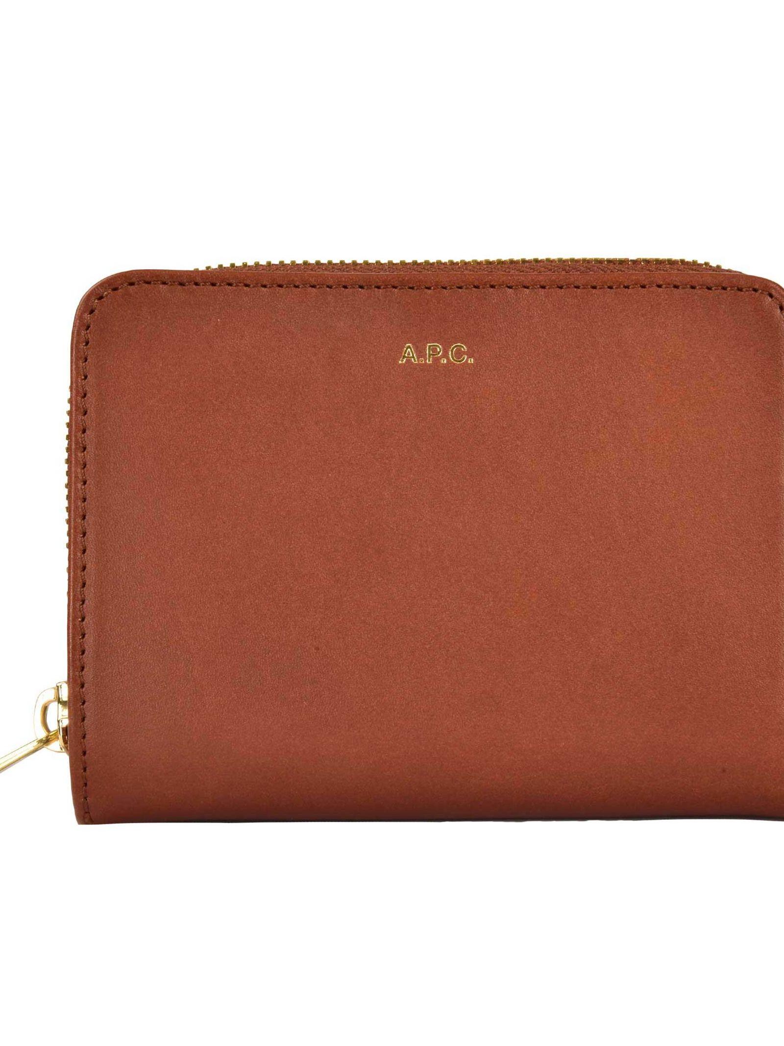 A.P.C. Compact Zip Wallet, Cad Noisette