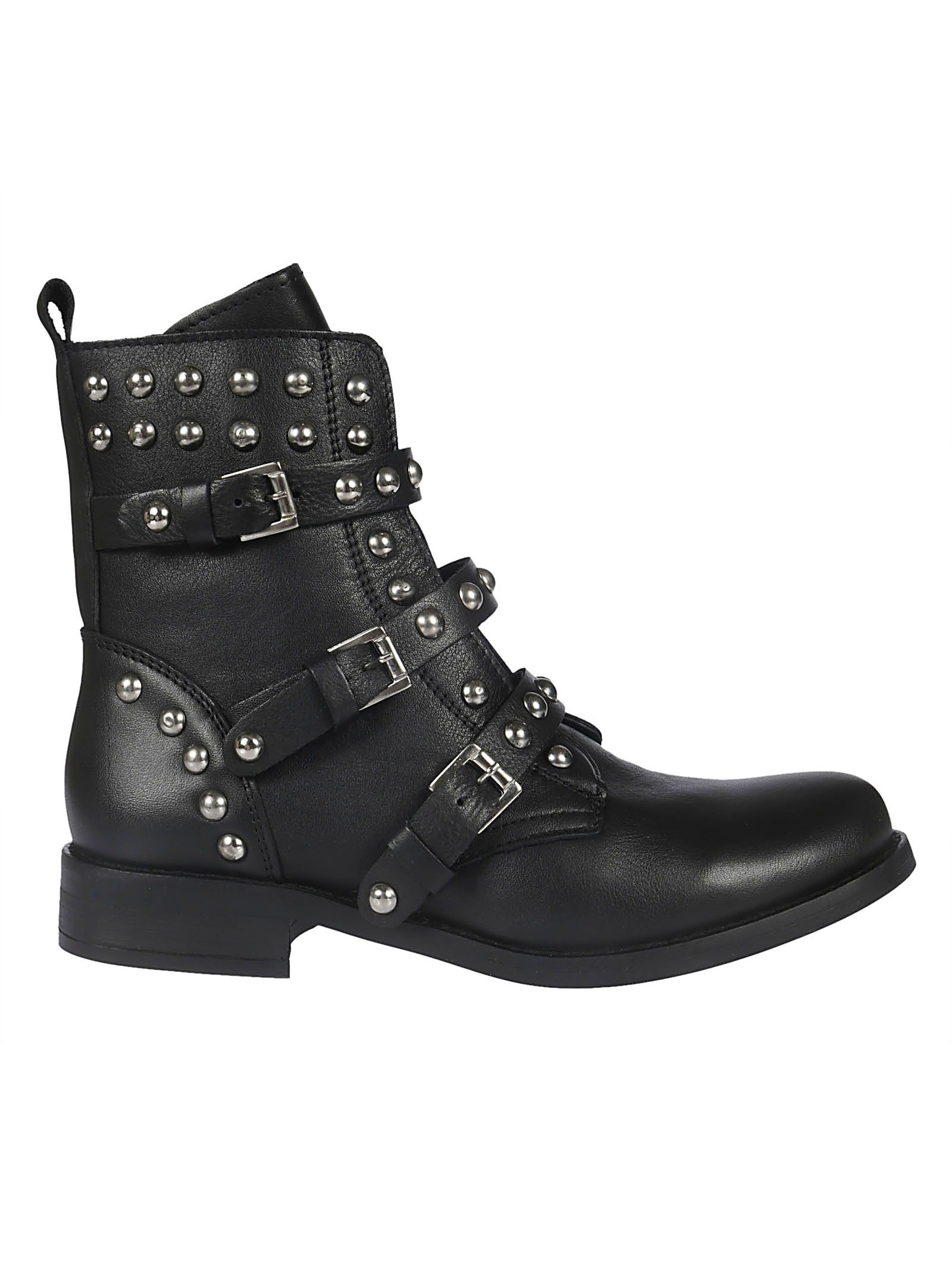 23bafa83198 Steve Madden Spunky Stud And Zip-Detail Leather Boots In Black-Leather