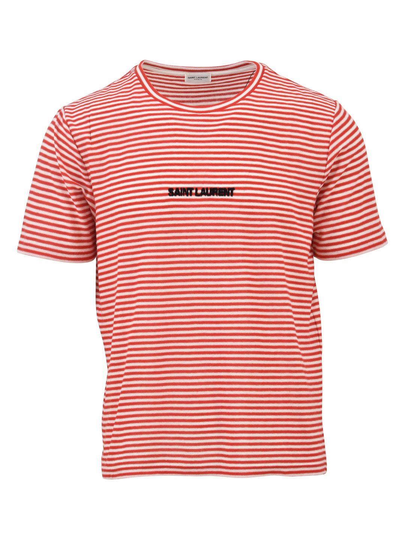saint laurent saint laurent logo striped t shirt red. Black Bedroom Furniture Sets. Home Design Ideas