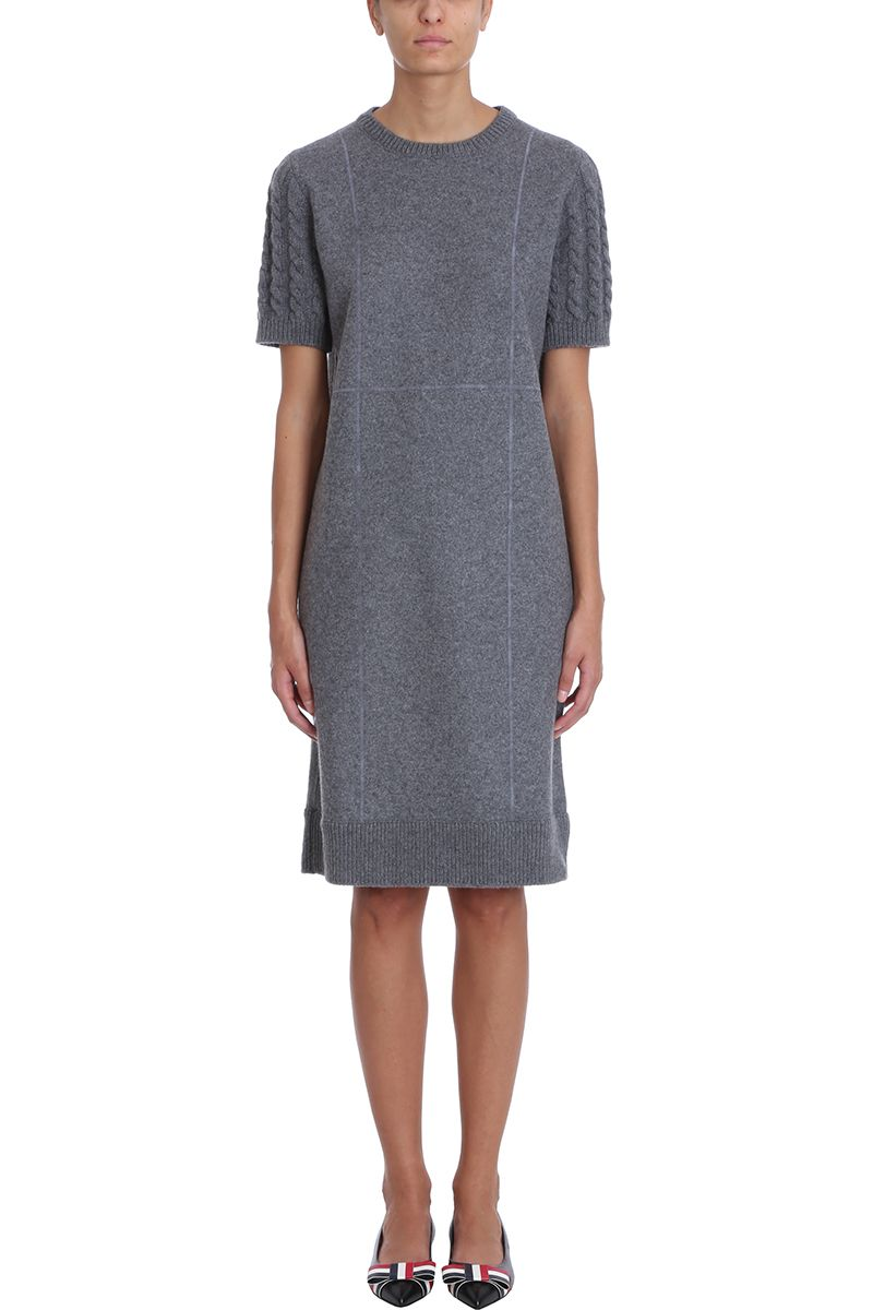 Thom Browne Grey Wool Flannel Cable Knit Sweater Dress Grey