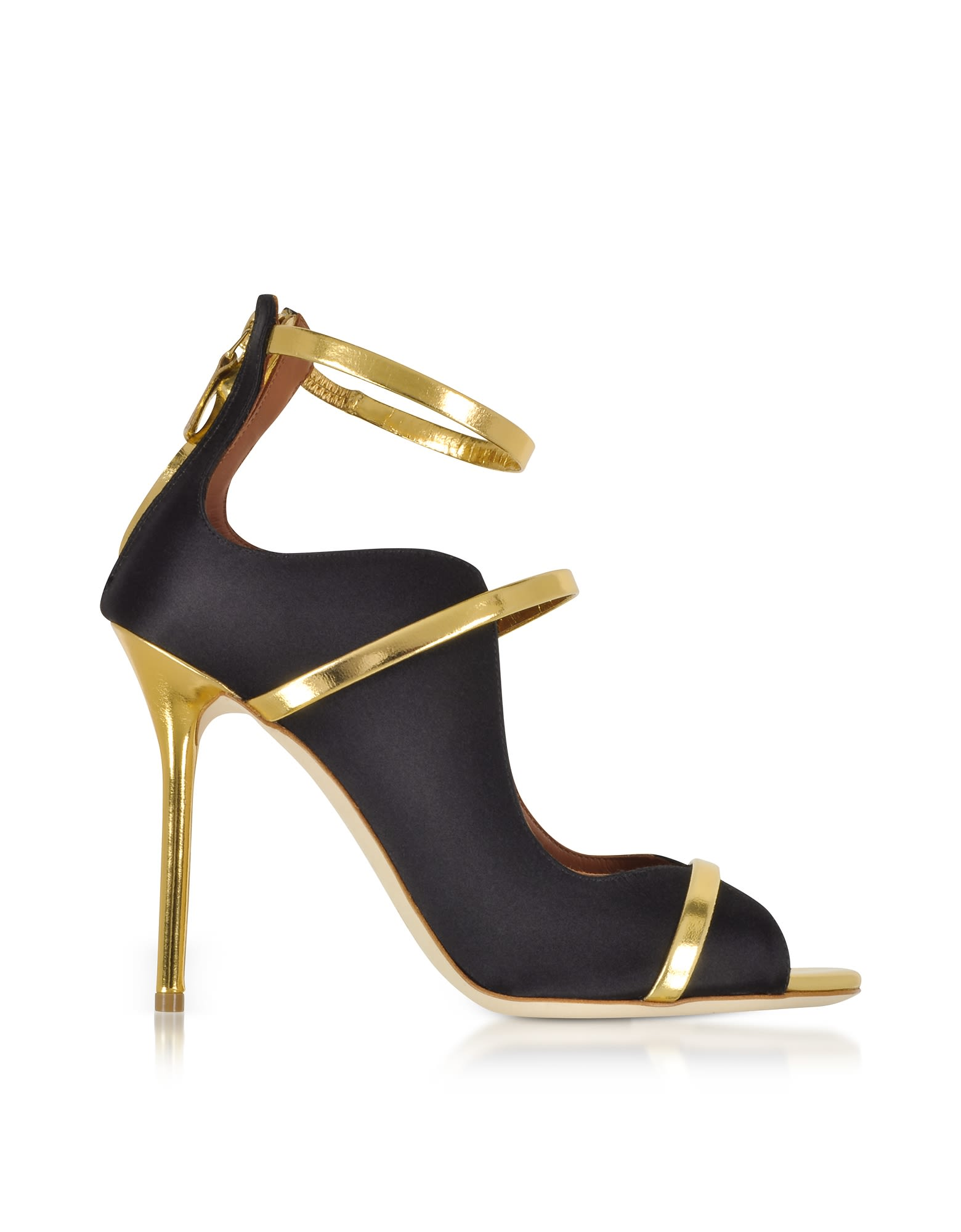 malone souliers -  By Roy Luwolt Mika Black Satin And Gold Mirror Nappa High Heel Sandals