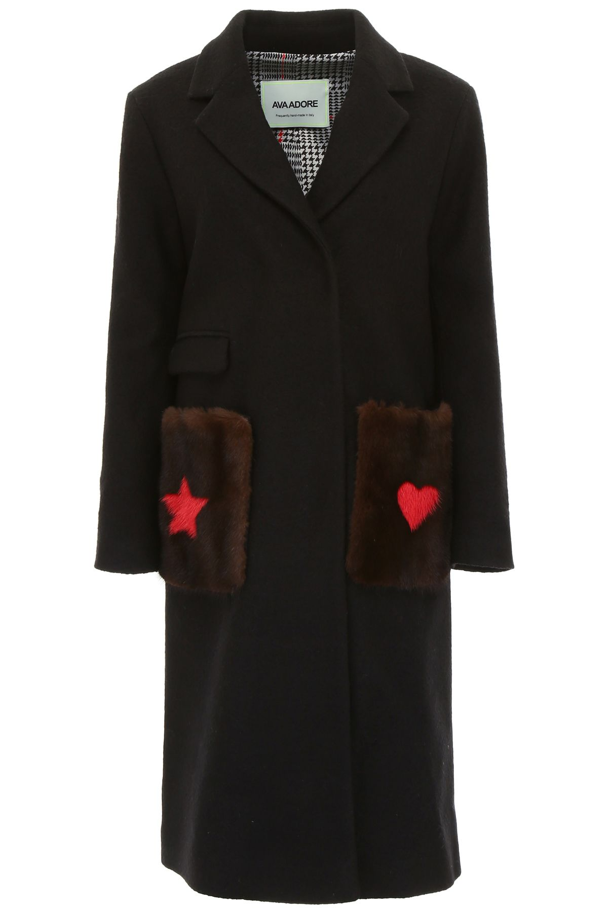 AVA ADORE COAT WITH MINK FUR ON THE POCKETS