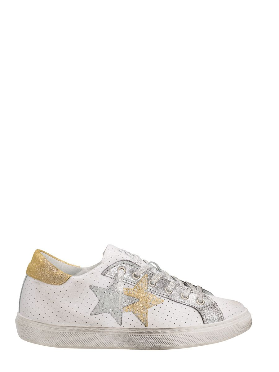 2star female 2star low white gold perforated leather sneakers