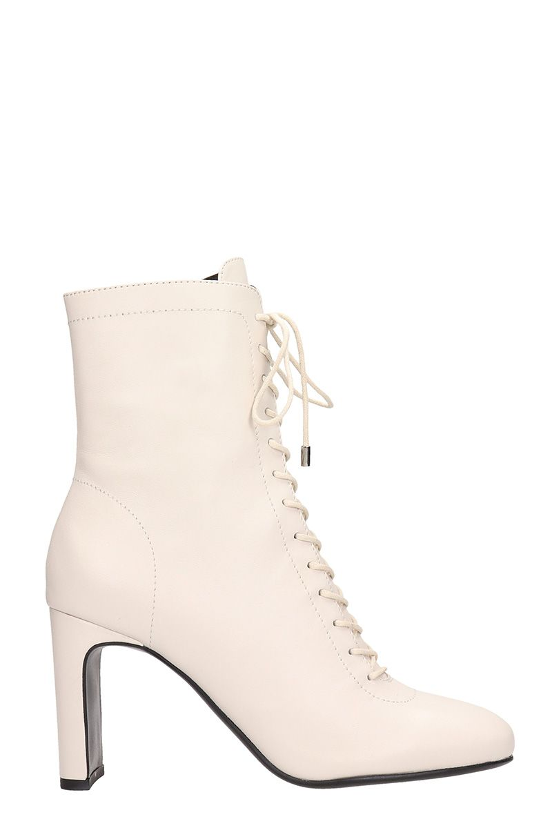 LOLA CRUZ Lula Black Calf Leather Ankle Boots in White
