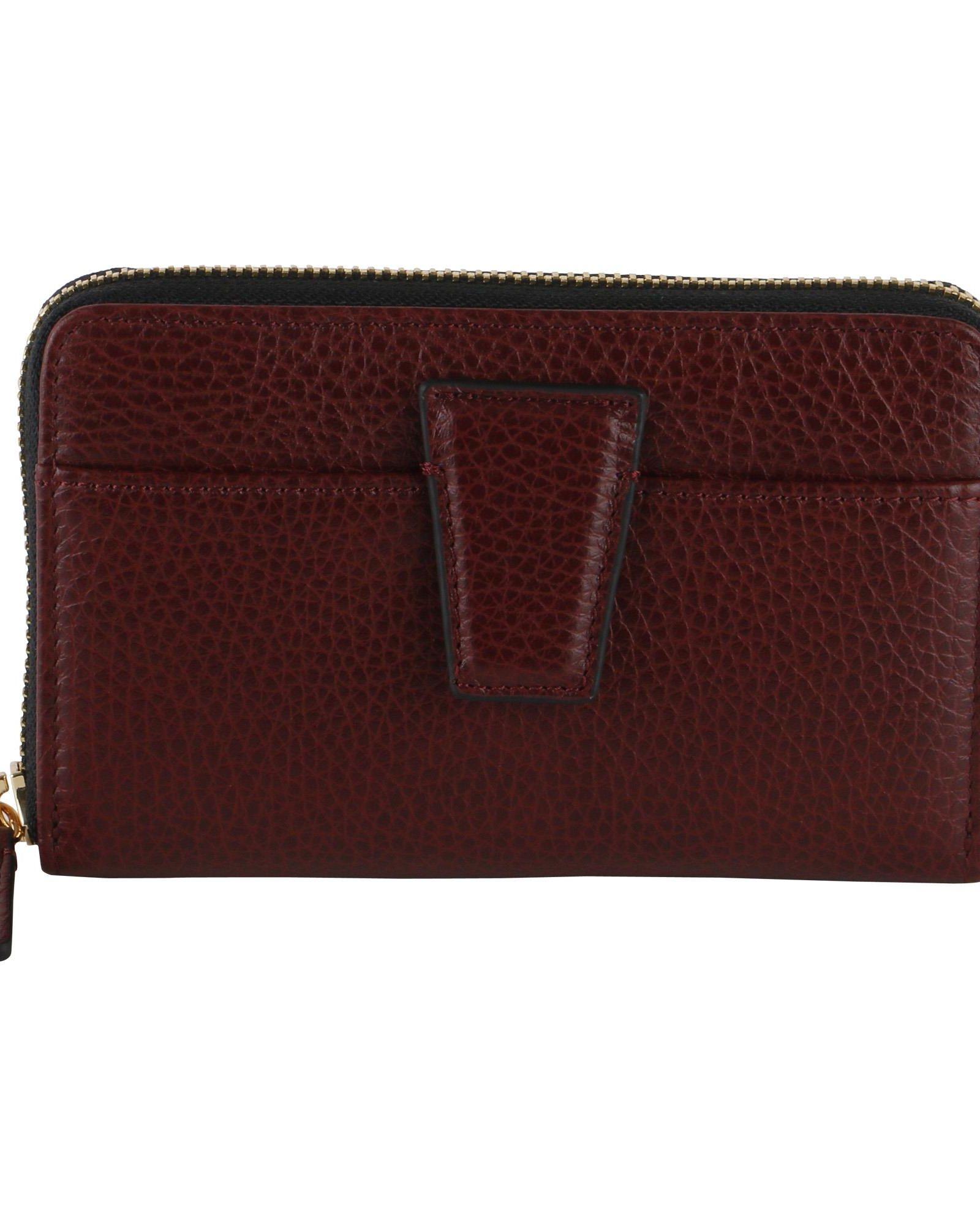 GIANNI CHIARINI Merlot Grained Leather Wallet in Bordeaux
