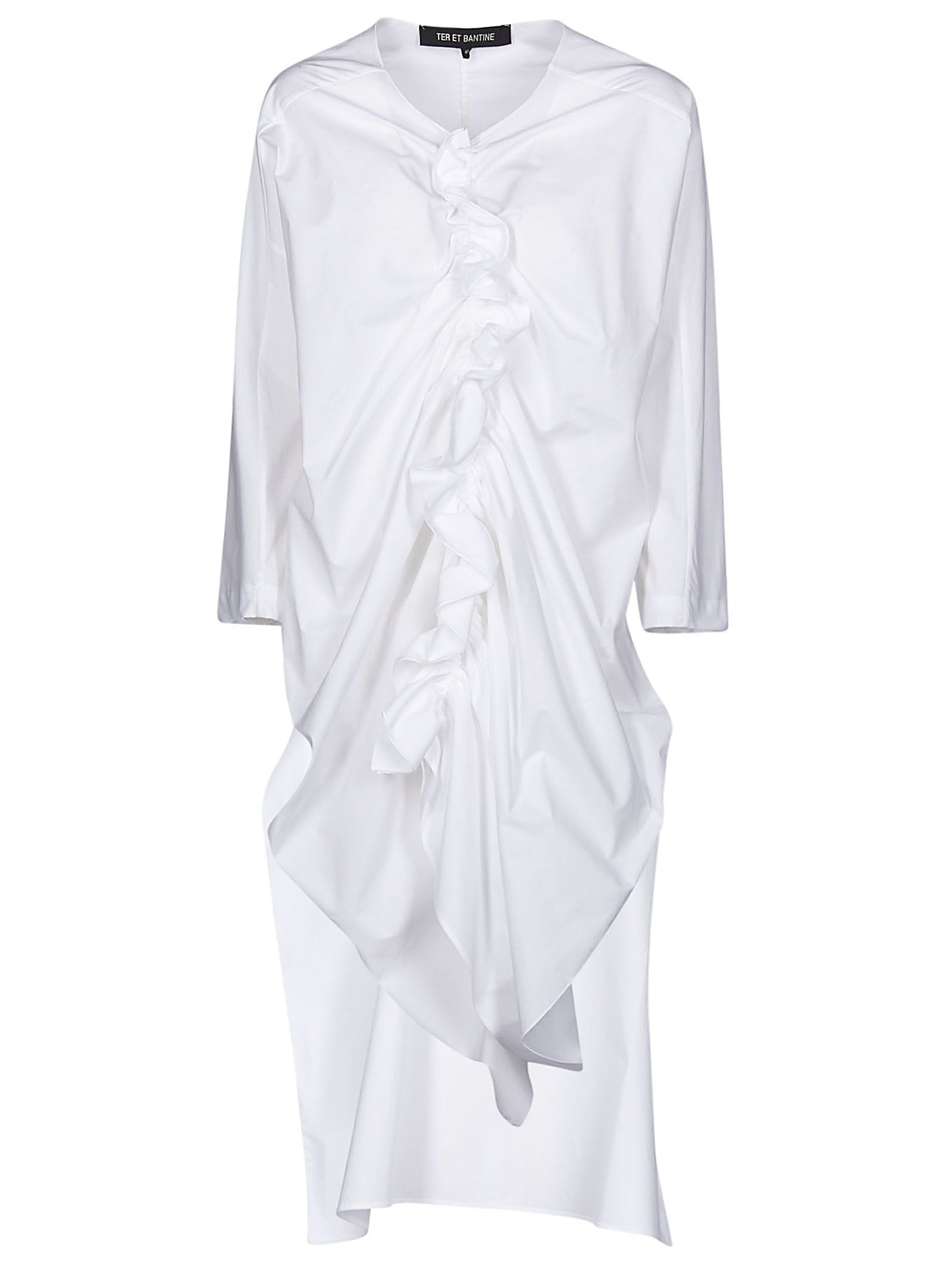 600bbd613fa7b Ter et Bantine Front Ruffle-detailed Long Blouse - White ...