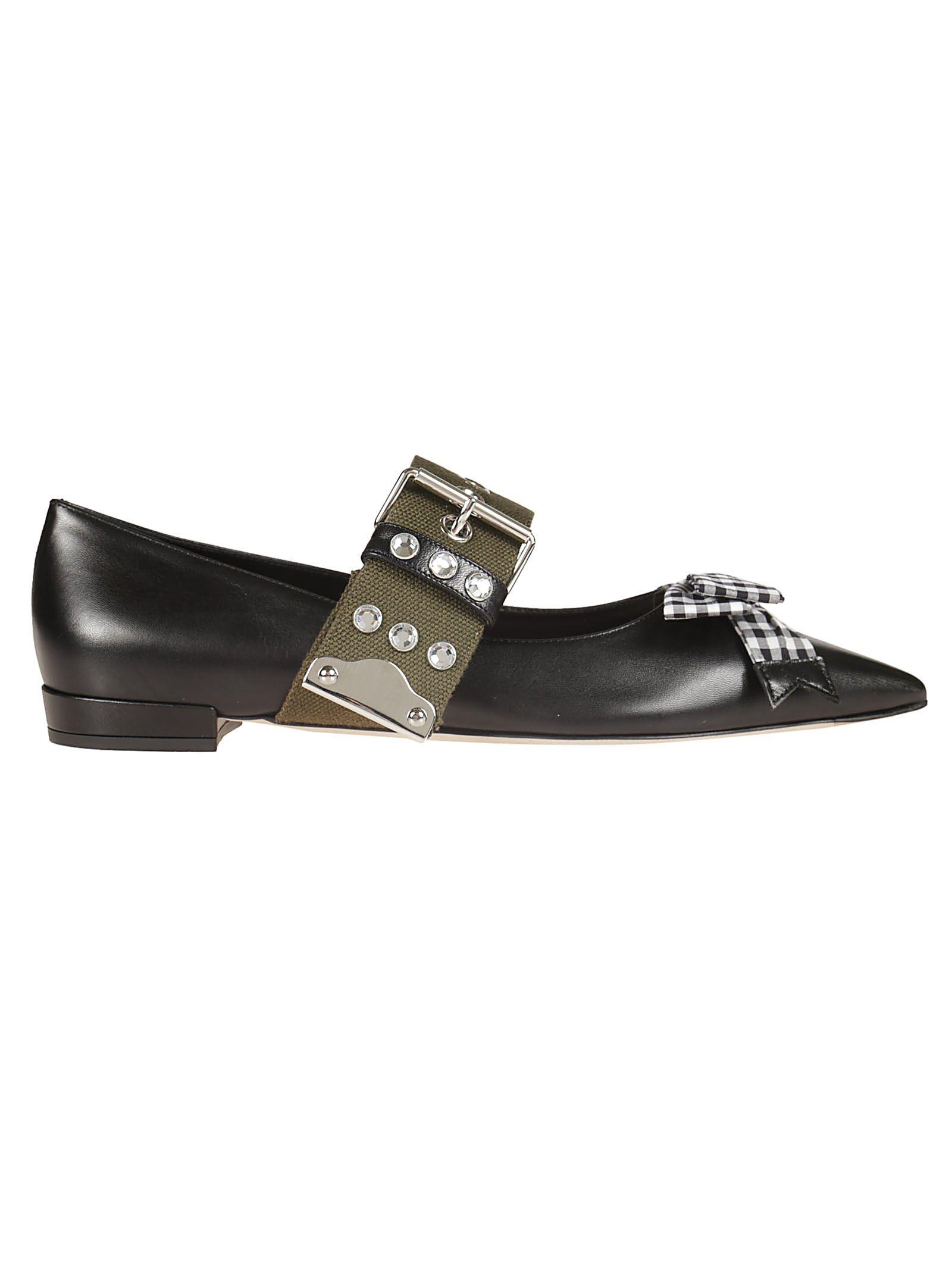 cce0d18be6f Miu Miu Ankle Belt Strap Ballerinas - Black ...