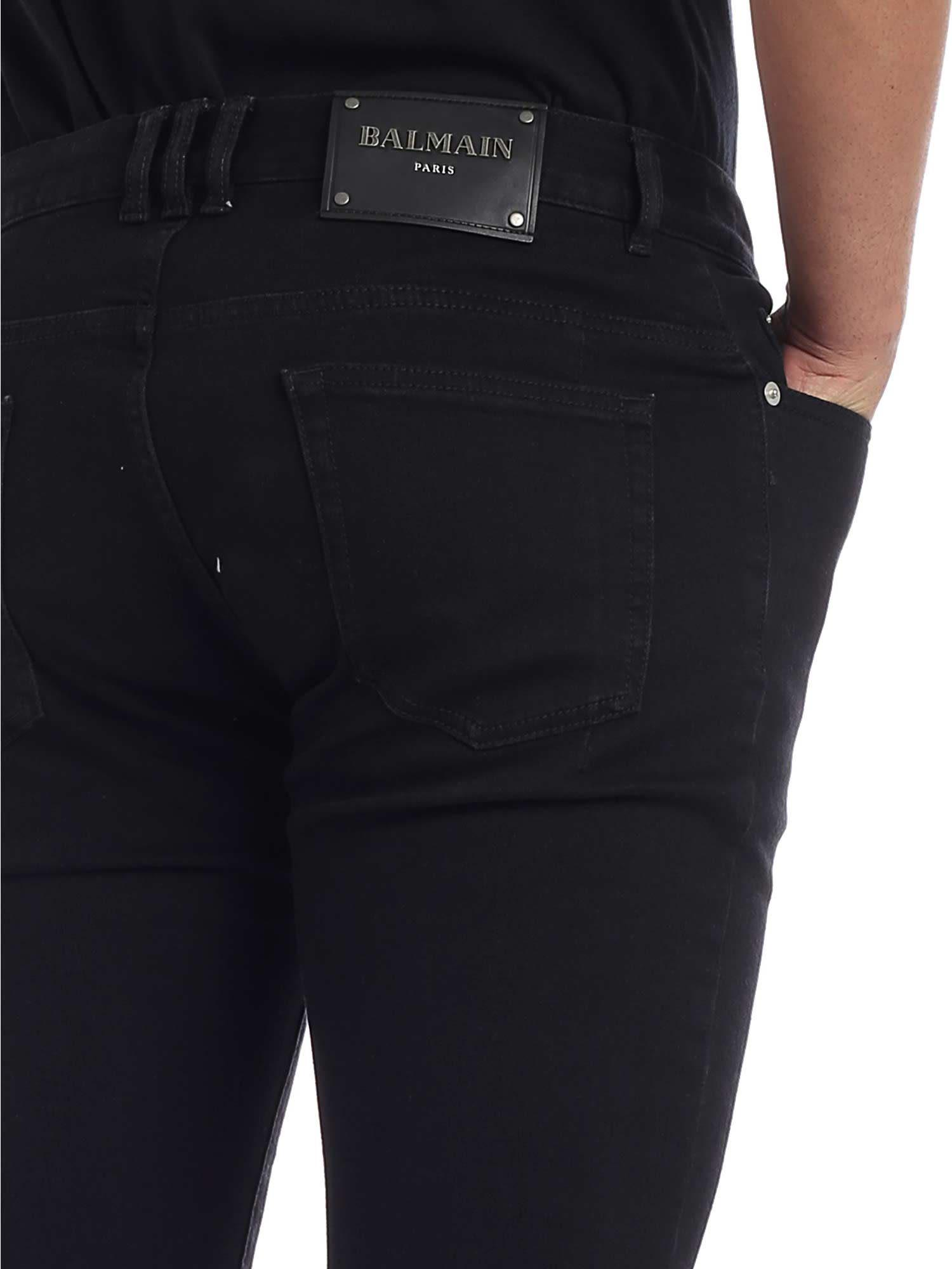 Italist Best Price In The Market For Balmain Knee Ripped Jeans Biker Black Faded Nero