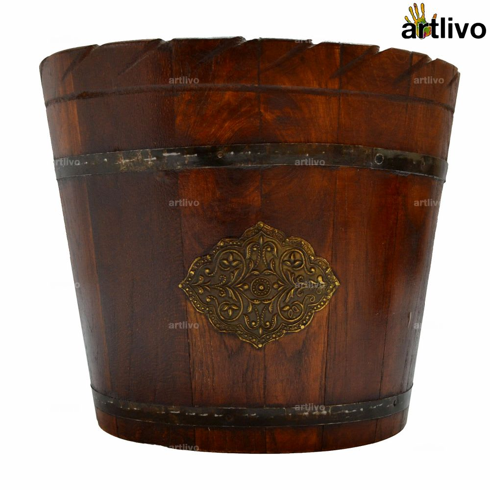 Regal Wooden Decorative Oval Bins Set of 2